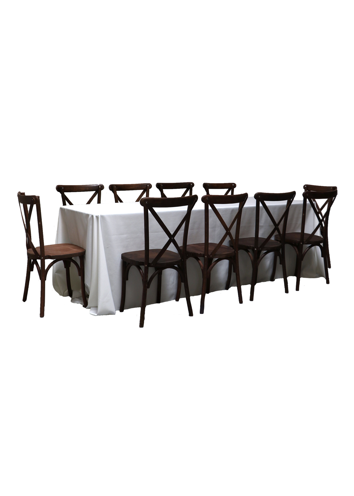 Banquet Table with 10 Mahogany Cross-Back Chairs