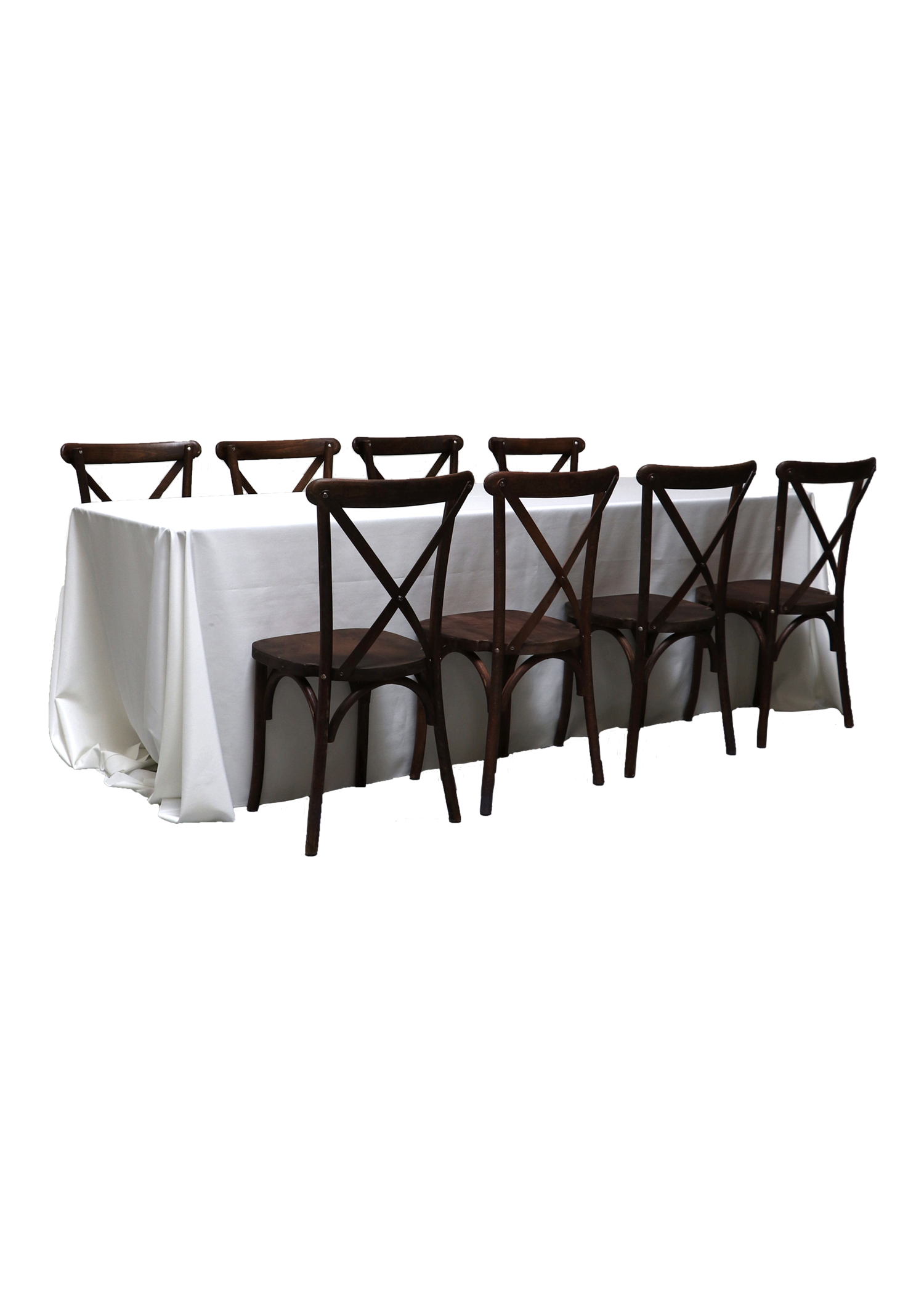 Banquet Table with 8 Mahogany Cross-Back Chairs