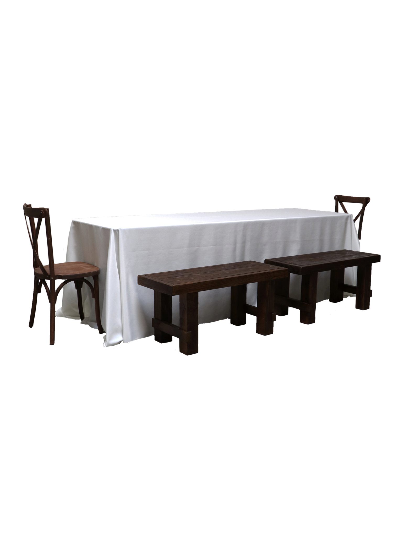 Banquet Table with 4 Mahogany Short Benches & 2 Cross-Back Chairs
