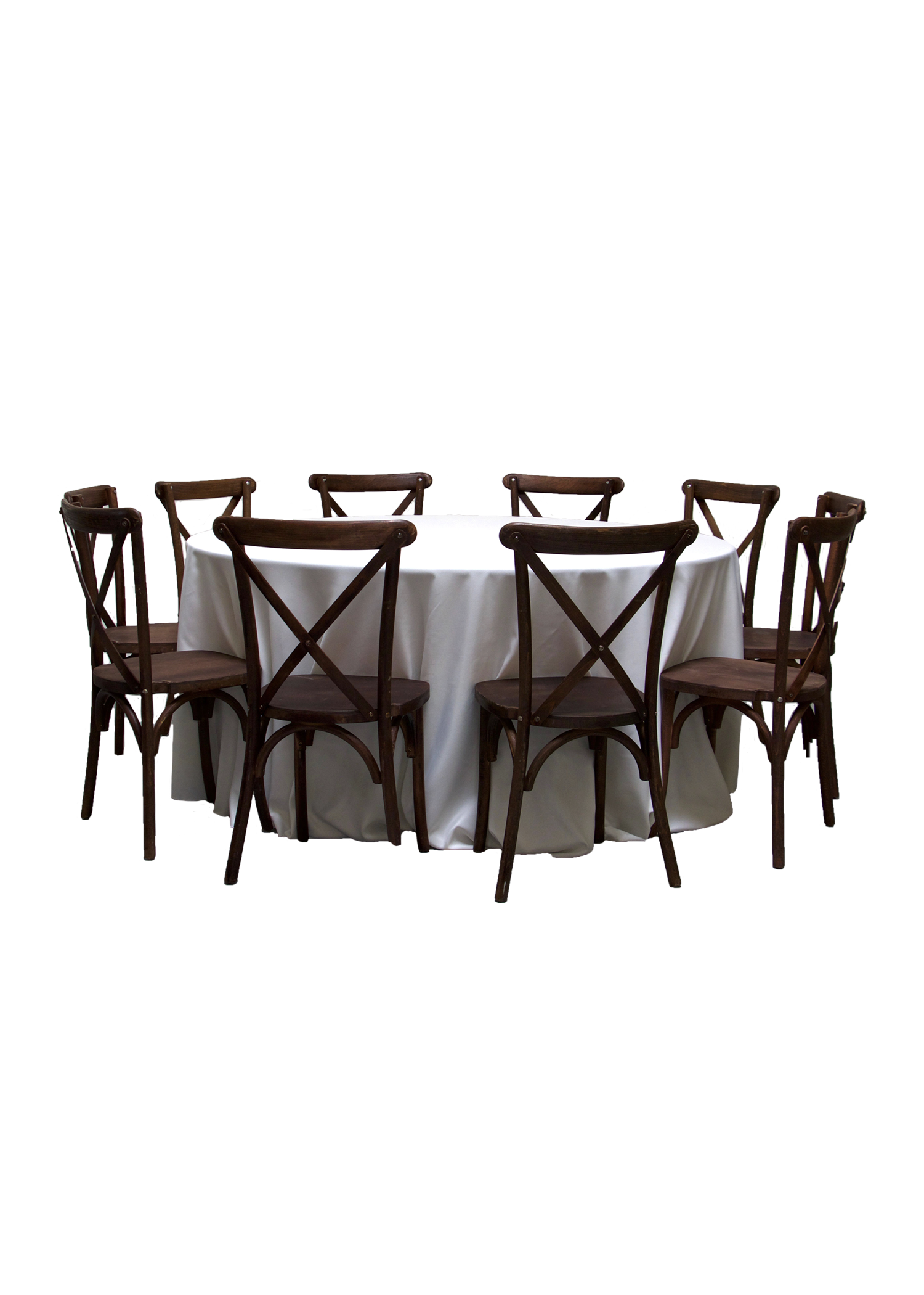 Round Banquet Table with 10 Mahogany Cross-Back Chairs