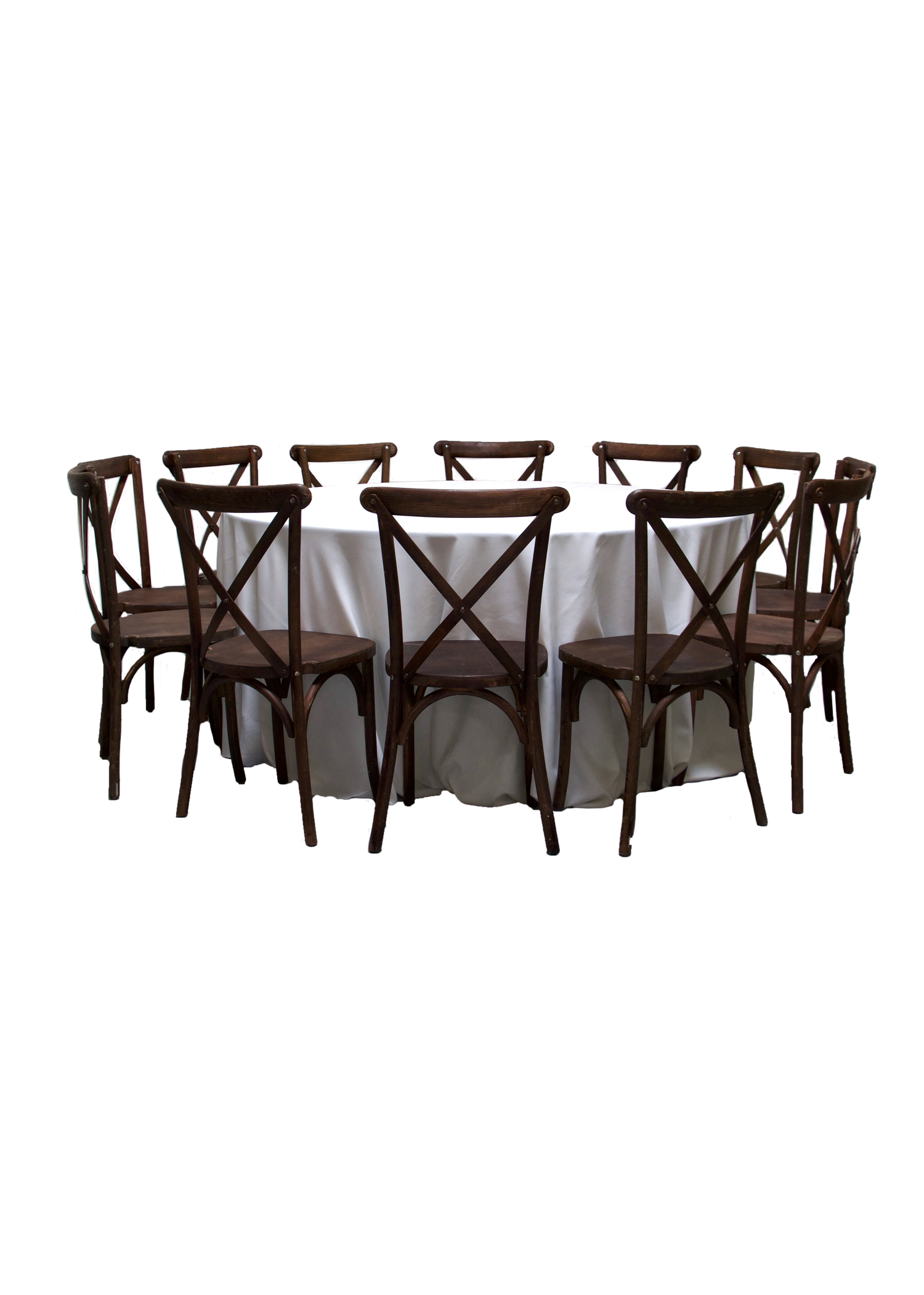Round Banquet Table with 11 Mahogany Cross-Back Chairs