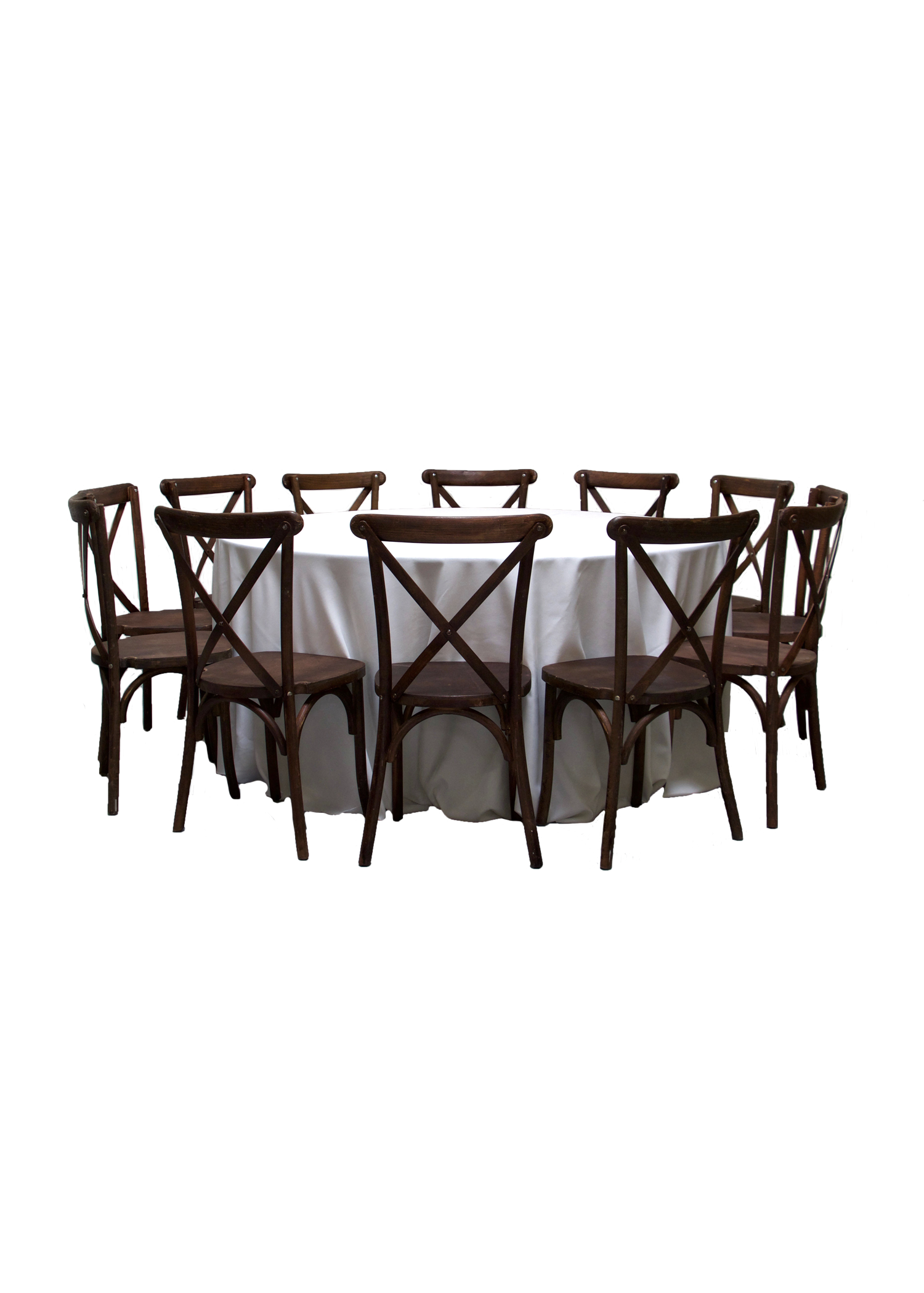 Round Banquet Table with 12 Mahogany Cross-Back Chairs