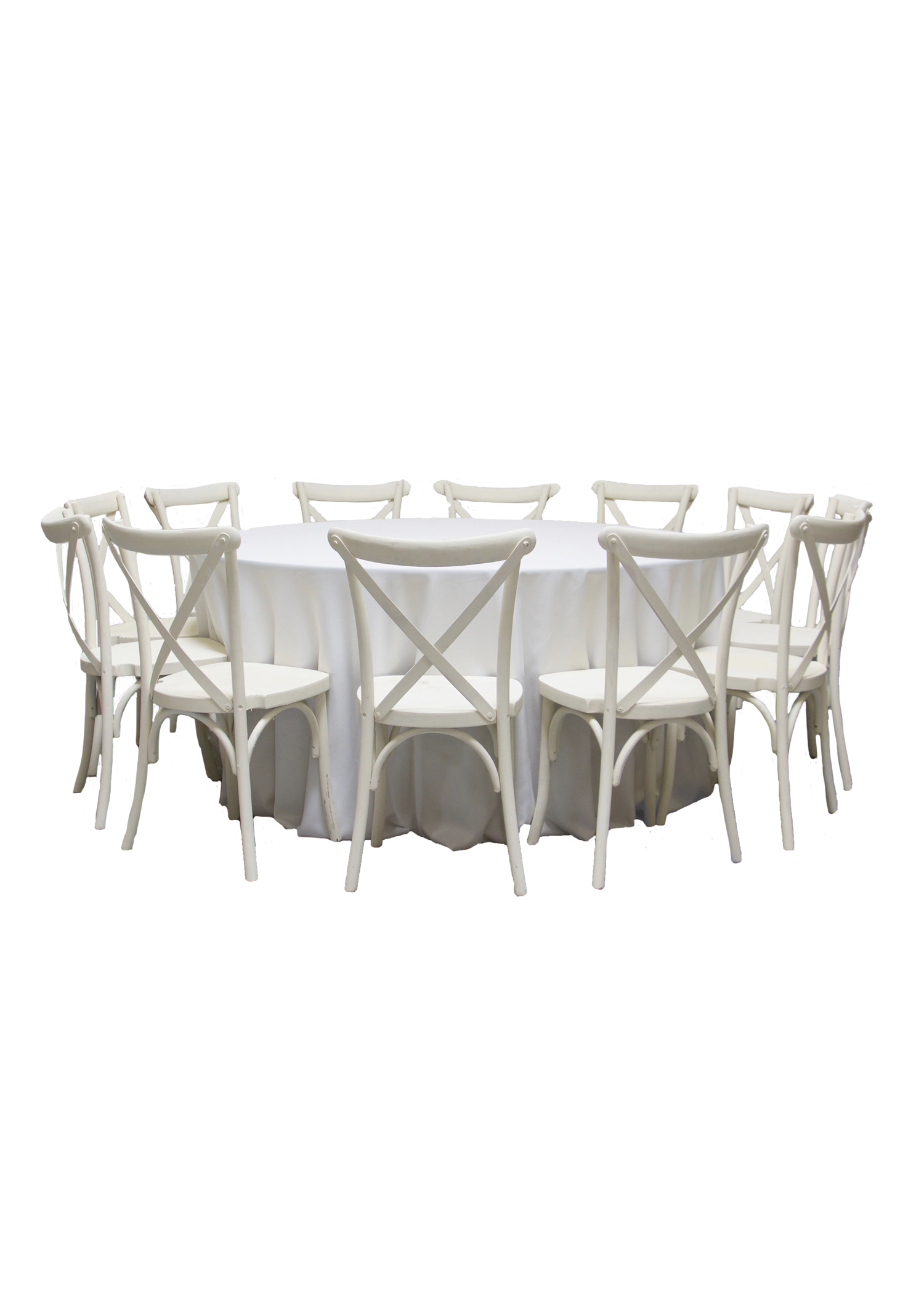 Round Banquet Table with 11 Vintage White Cross-Back Chairs