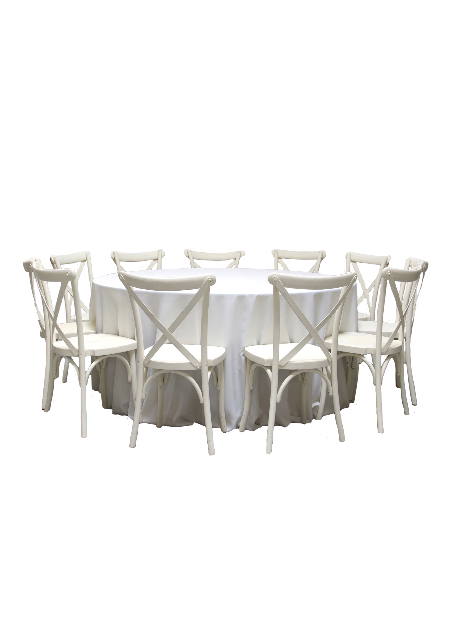 Round Banquet Table with 10 Vintage White Cross-Back Chairs