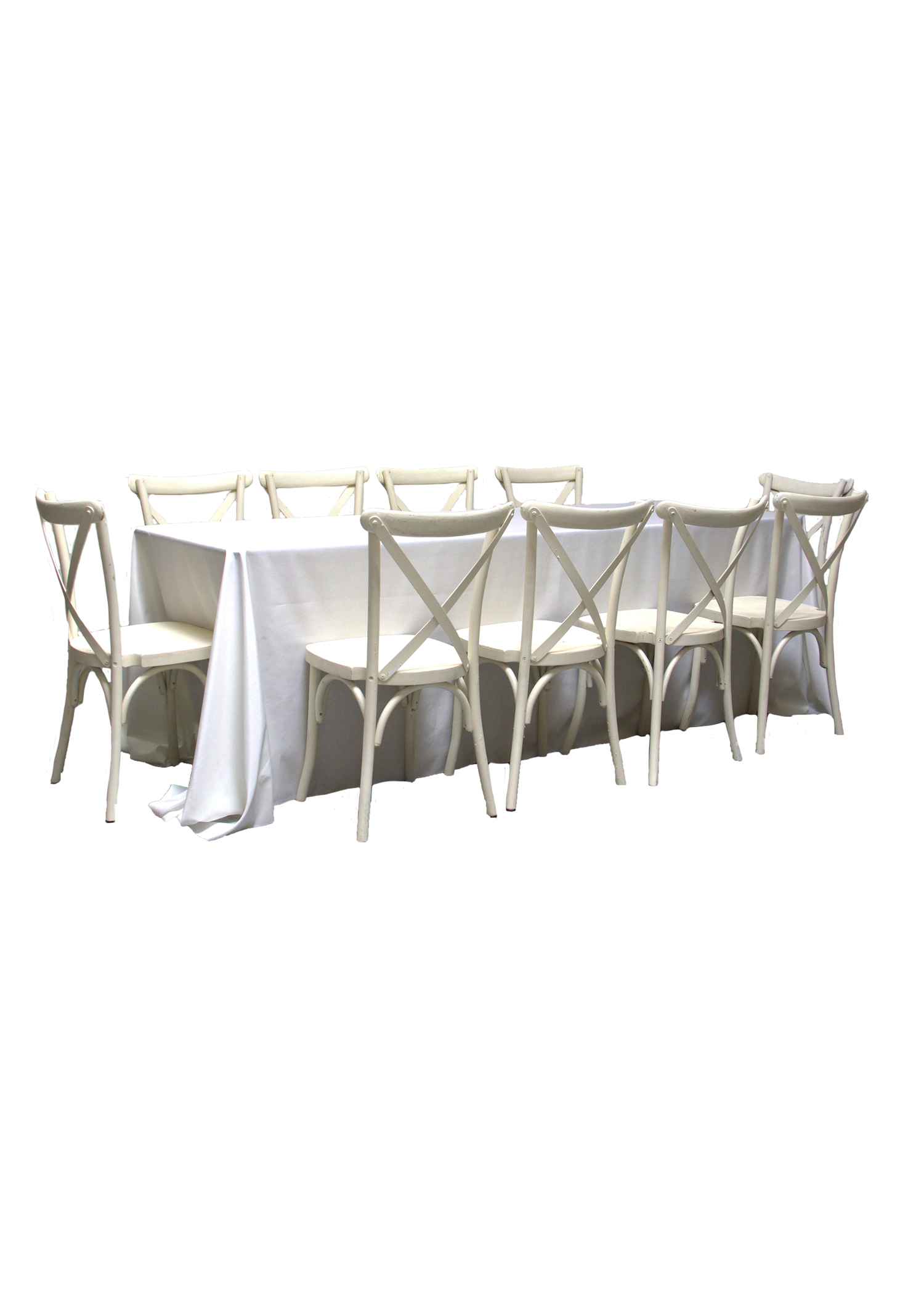 Banquet Table with 10 Vintage White Cross-Back Chairs