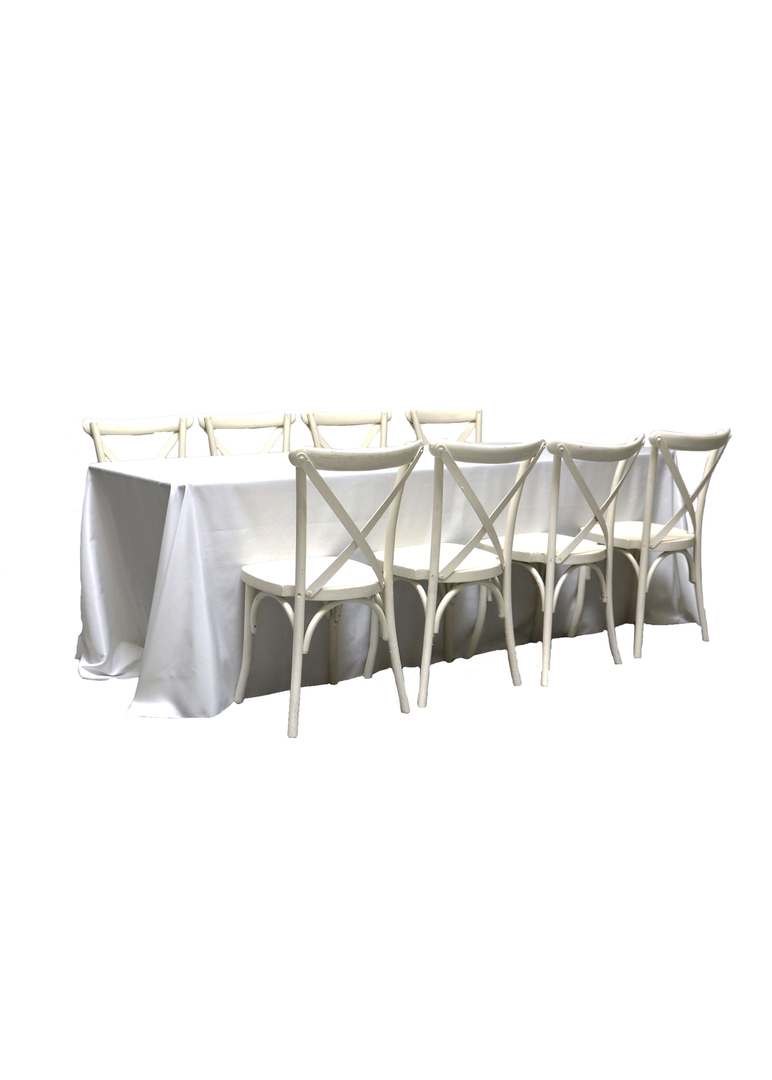 Banquet Table with 8 Vintage White Cross-Back Chairs