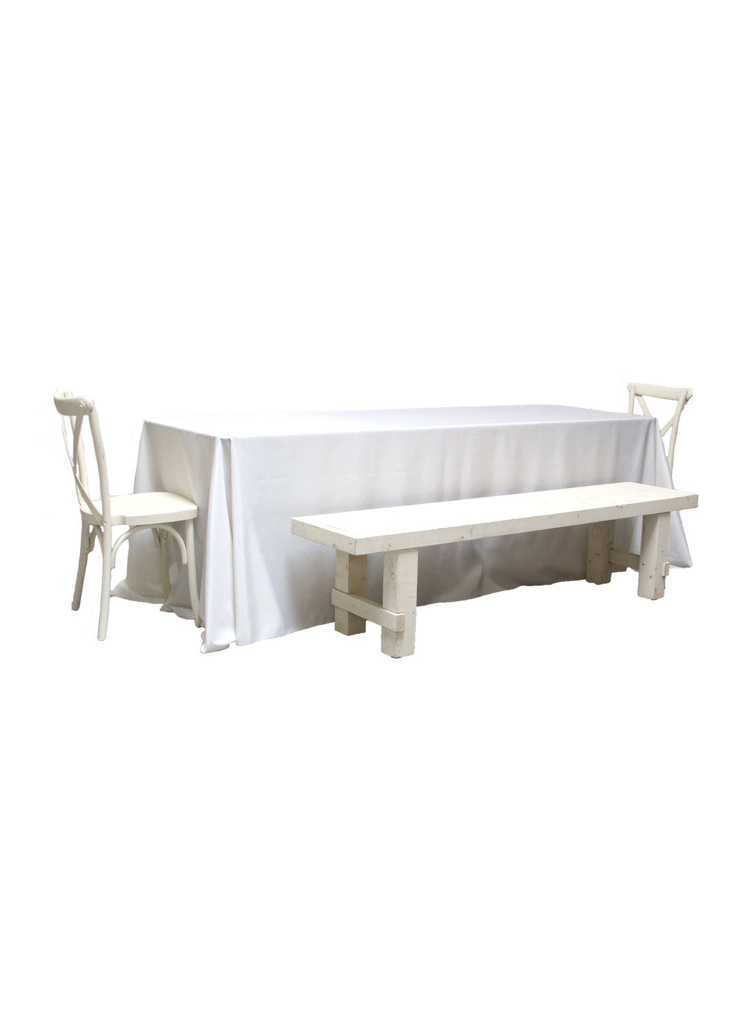 Banquet Table with 2 Vintage White Long Benches & 2 Cross-Back Chairs