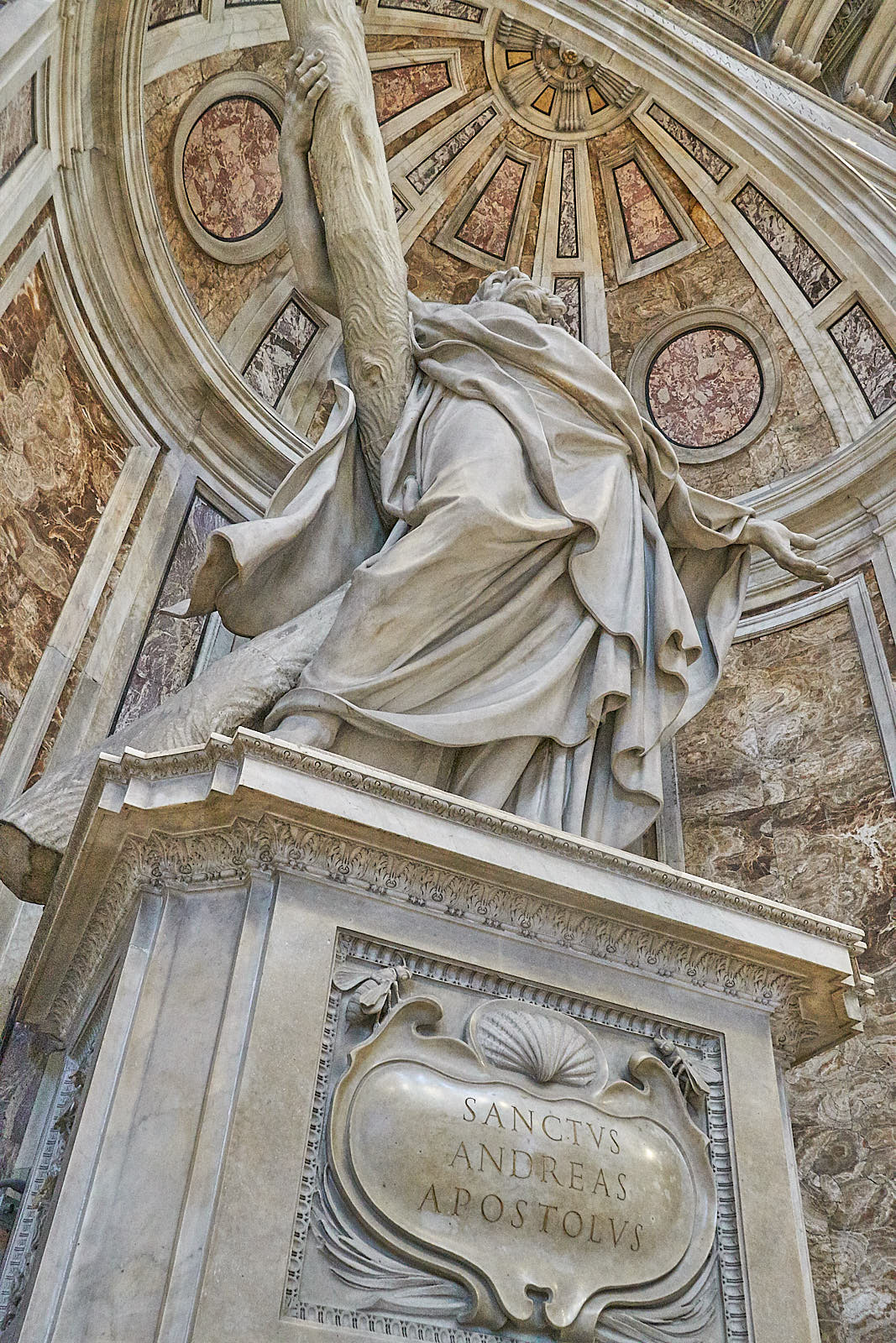 A sculpture of Andrew memorializes the Apostle at St. Peter's Basilica in Rome.