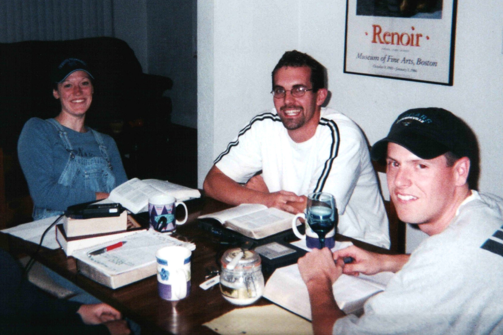 One of our many planning meetings as single co-leaders in the campus ministry in Gainesville, Florida (circa 2001). Our best days with lifelong friends!