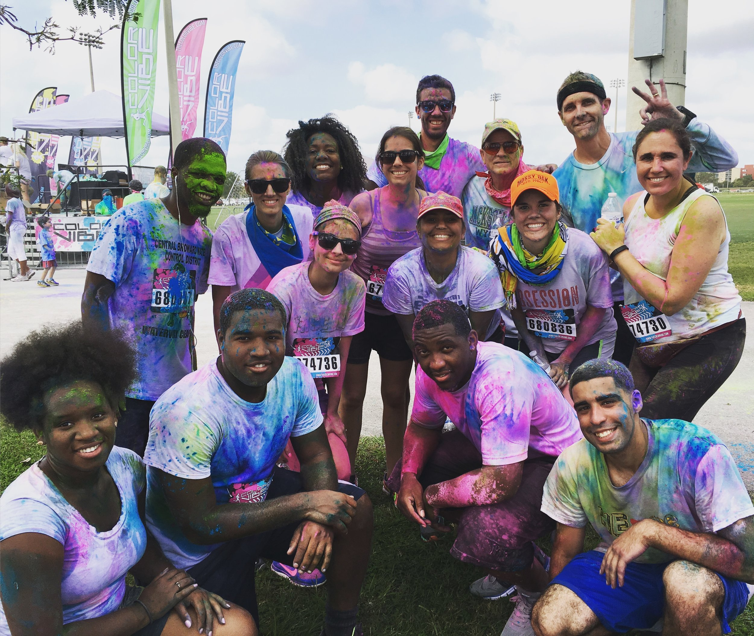 One of our best days: The Millennials organized a 5K Color Vibe Run to raise money for charity. That's me pictured top right with a Gen X'er to the right and a Baby Boomer to the left. We're surrounded by a dozen passionate, fun-loving Millennials that brought us together that day.