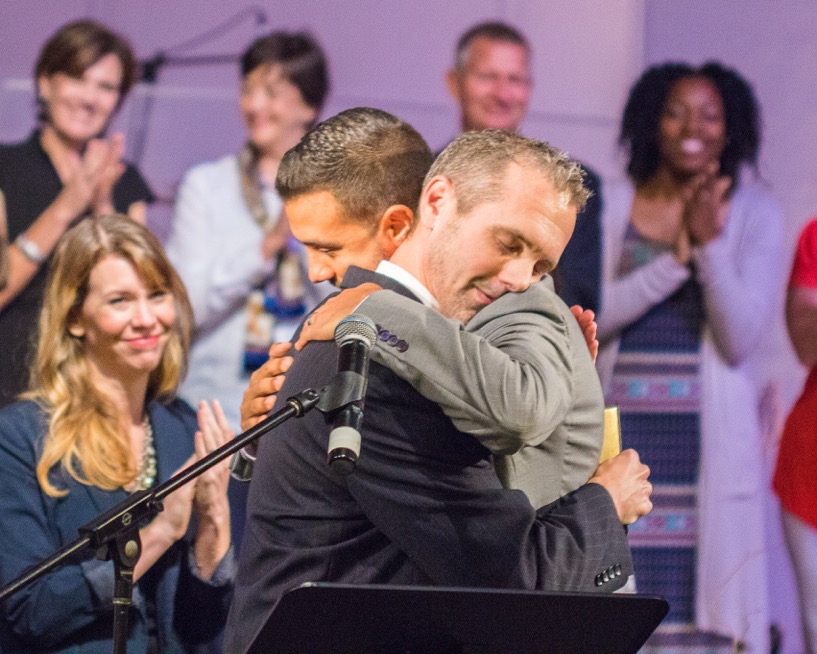 One of the longest man-hugs you'll ever see. That's Tony Fernandez and me shortly after he was appointed an evangelist at age 26. One of my best days on the planet for sure!