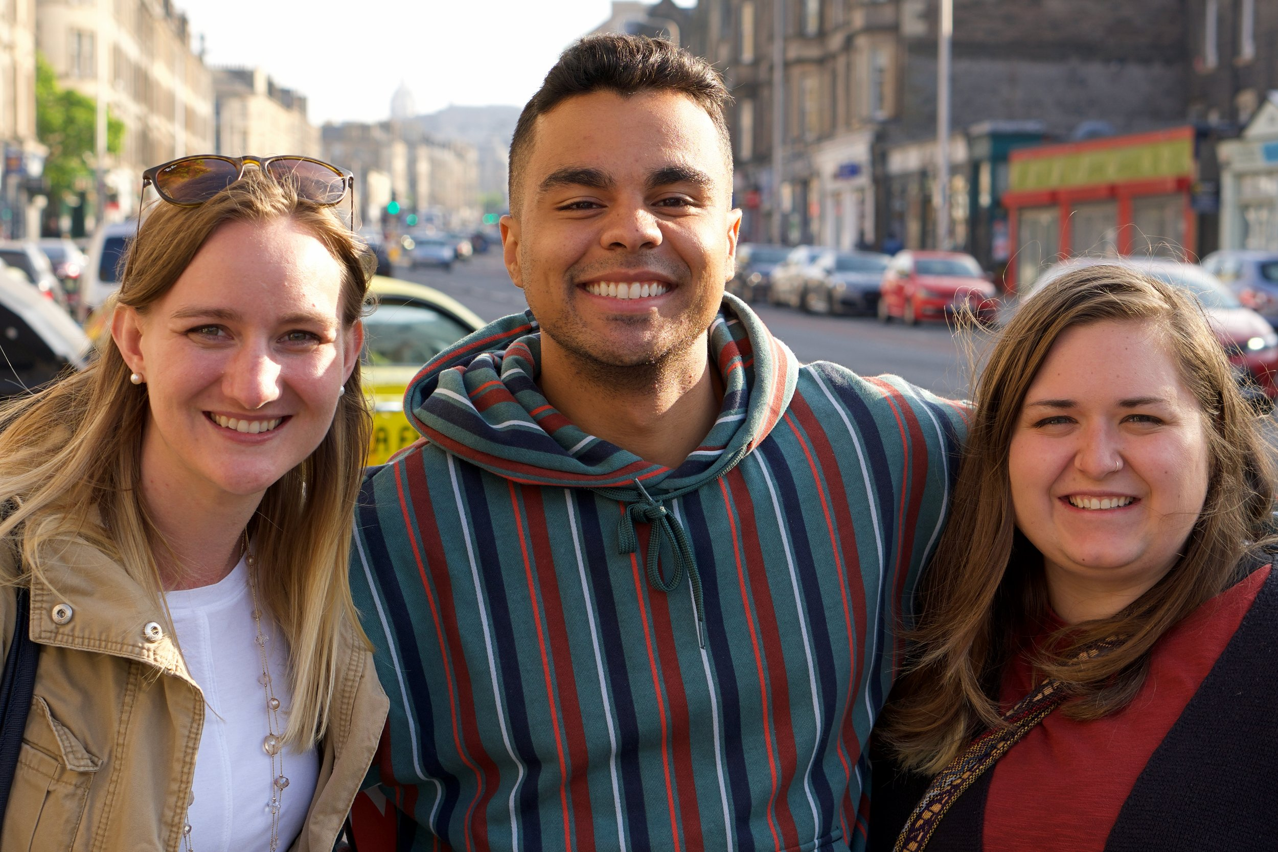 Emily Vogel, Dre'Shawn Frencher, and Hailey Wright (pictured left to right) all left the comforts of home to serve on the mission field in Scotland. (not pictured: Whitney Vogel)