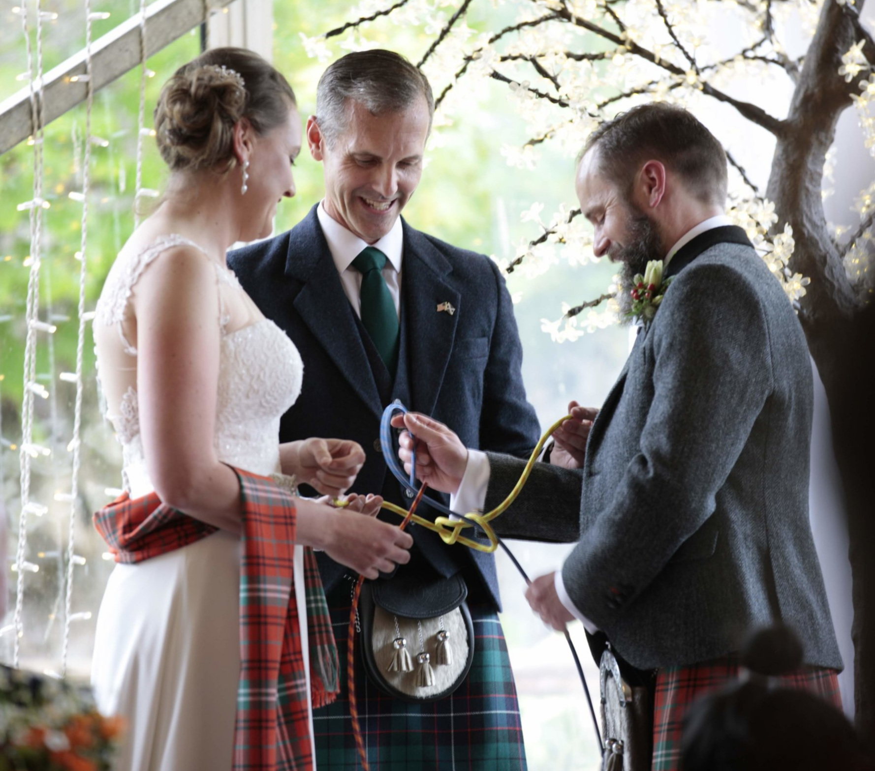 To demonstrate Ecclesiastes 4:9-12, Chris and Marlies Morrison literally tied the knot with three strands of rope as part of their wedding vows.