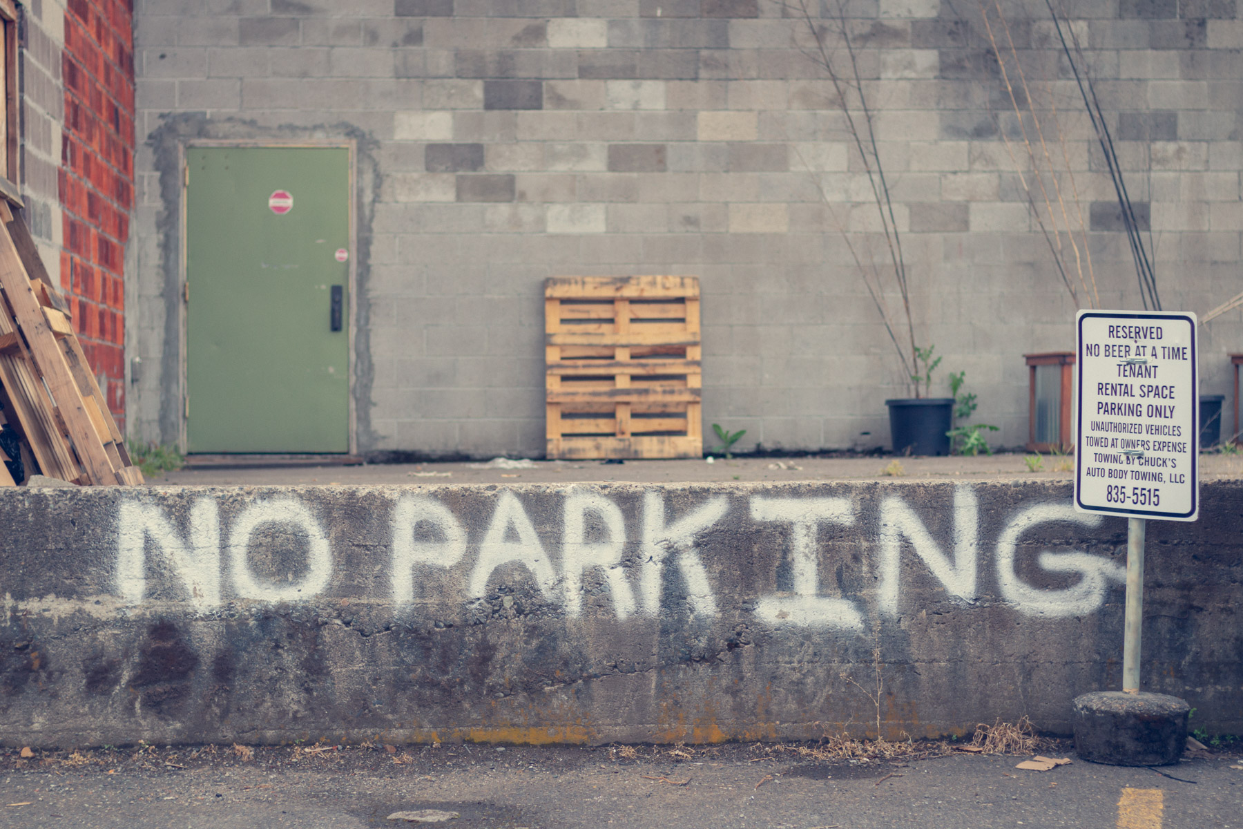 No parking, unless it's absolutely necessary.