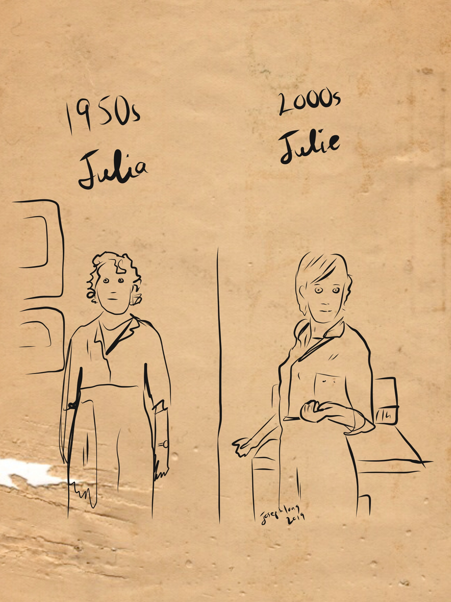 Illustration of Julia Child and Julie Powell.
