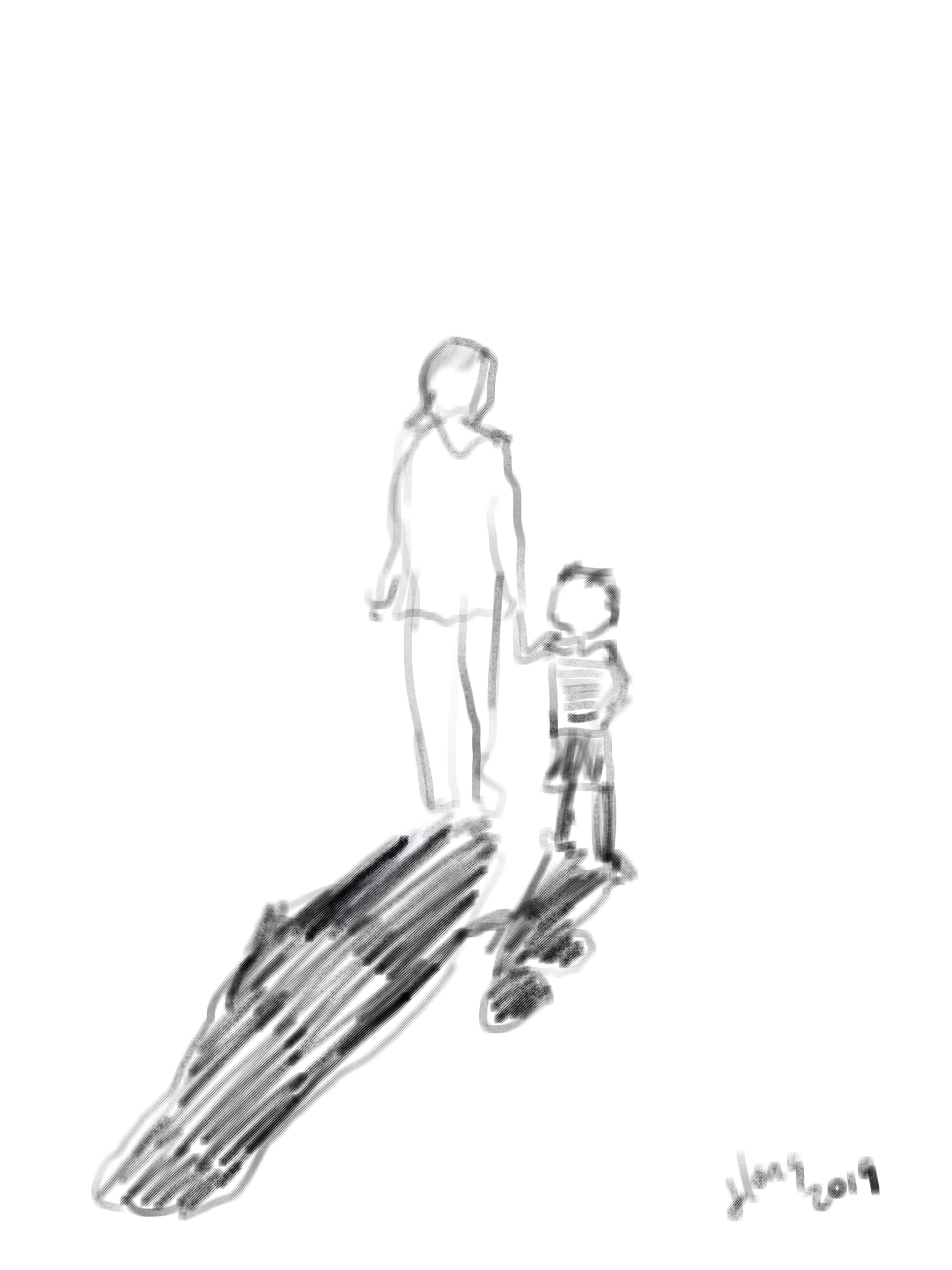 Illustration of Countess Becca holding hands with her toddler-age son.