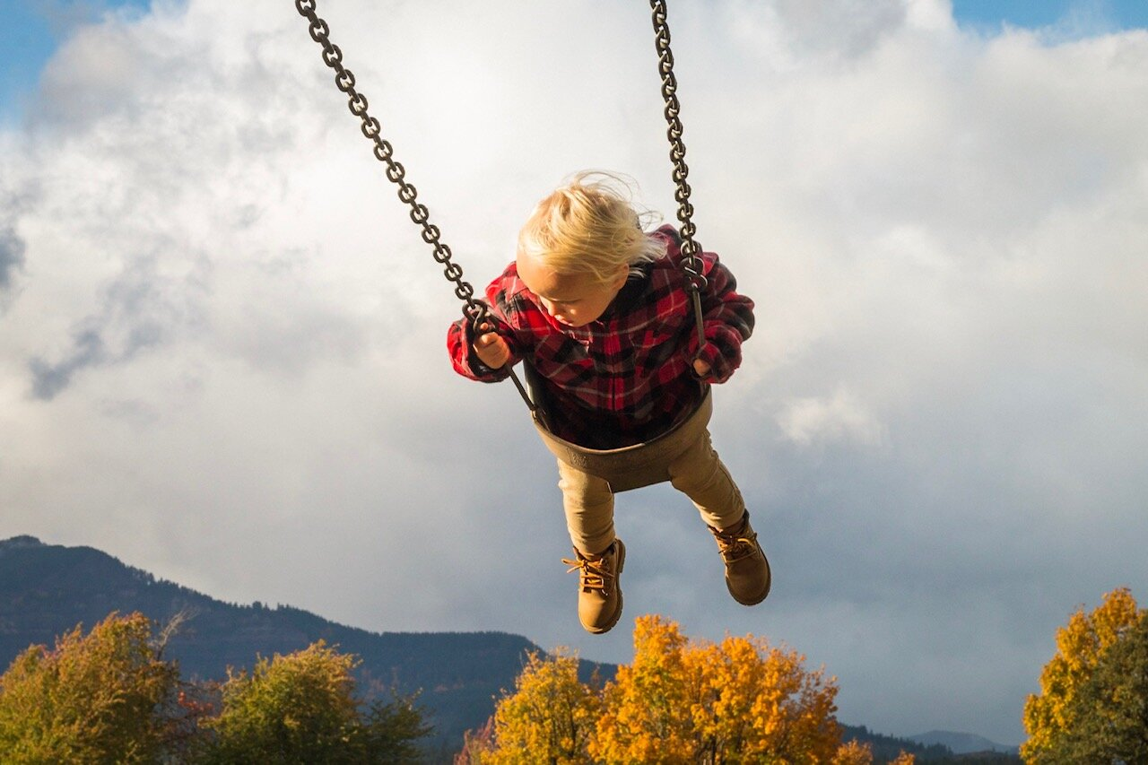 Blond toddler-age boy in swing in the Columbia Gorge