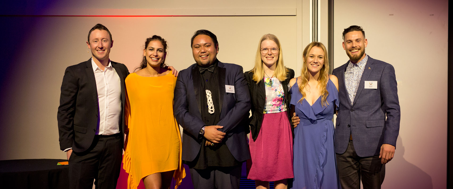 Pictured from left : Guy Ryan, CEO & Founder of Inspiring Stories and The Impact Awards; Jacinta Gulasekharam – winner of the Evolve Leadership Summit scholarship; Shaquille Shortland, CEO of Tuapapa Māori Language Academy & Consultancy – winner of the Inclusion Award; Sophie Handford, National Coordinator School Strikes 4 Climate – winner of the Climate Award; Jazz Thornton, CEO of Voices of Hope – winner of the Wellbeing Award; and Shay Wright – Co-founder of Te Whare Hukahuka – winner of the Impact Award for Enterprise.