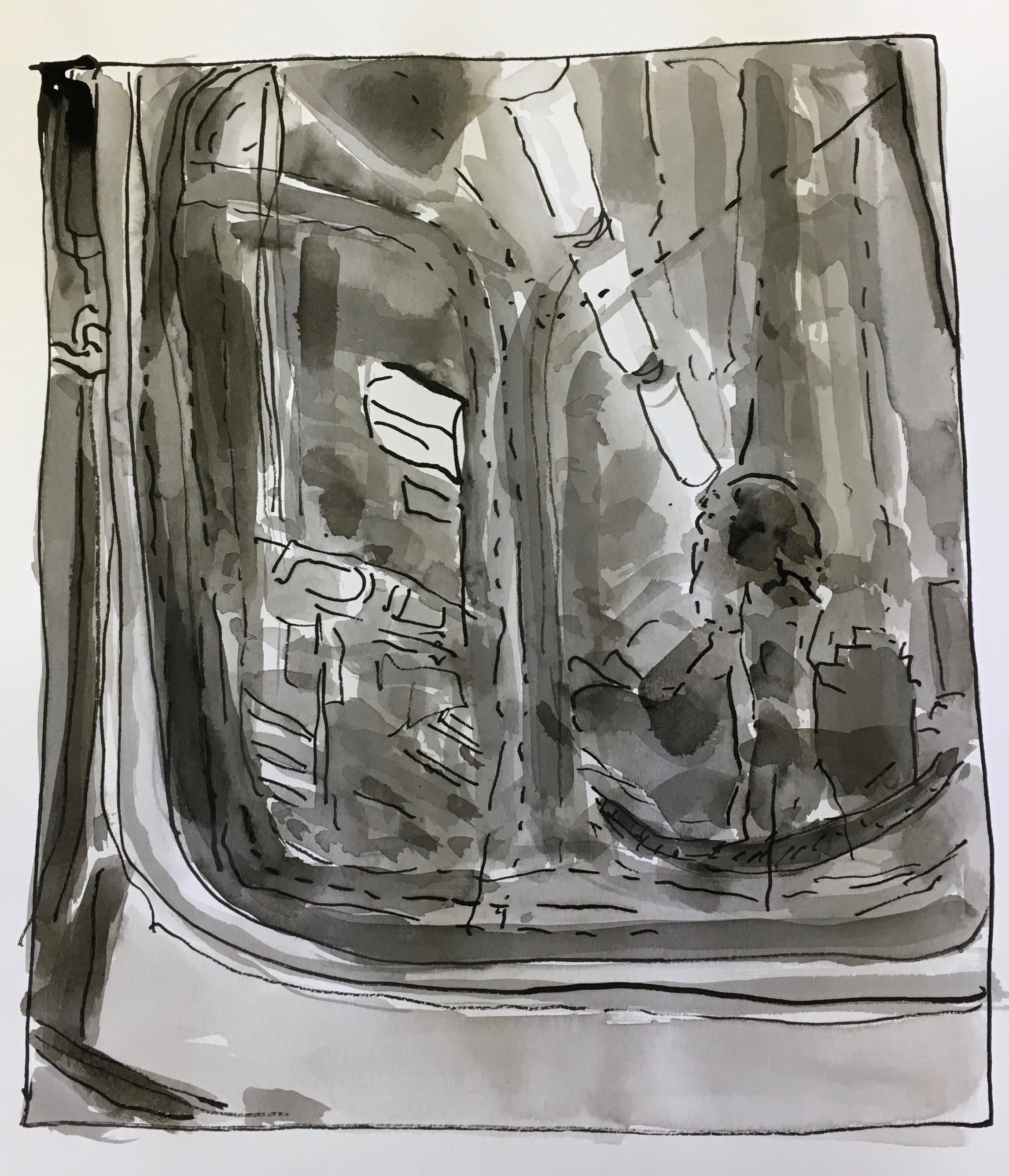 Subway Window, 2019, ink on paper, 9x12 inches