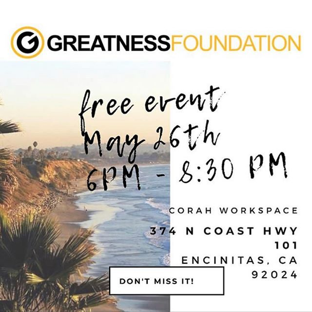 World Changers! 🌏 We are hosting our next Greatness Gathering in 1 week! Join us May 23rd from 6-8:30 pm at Corah Workspace in Encinitas! The purpose of this FREE event is to bring a community of World Changers together to connect, create, and celebrate. This is an opportunity to network, meet like-minded people and celebrate the greatness you are creating in the world! 🌏 Hope to see you there! Pre-registration on Eventbrite is suggested! Send us a DM to get the registration link! • • • • • • • • ❤️ Hashtag love: #givingback #charity #nonprofit #giveback #donate #community #success #entrepreneur #volunteer #philanthropy #smallbusiness #inspire #love #freedom #believe #business #ambition #mentor #mindset #thinkbig #beyourownboss #hardwork #hustle #startup #entrepreneurship #coaching #wontstop #motivate #mentoring