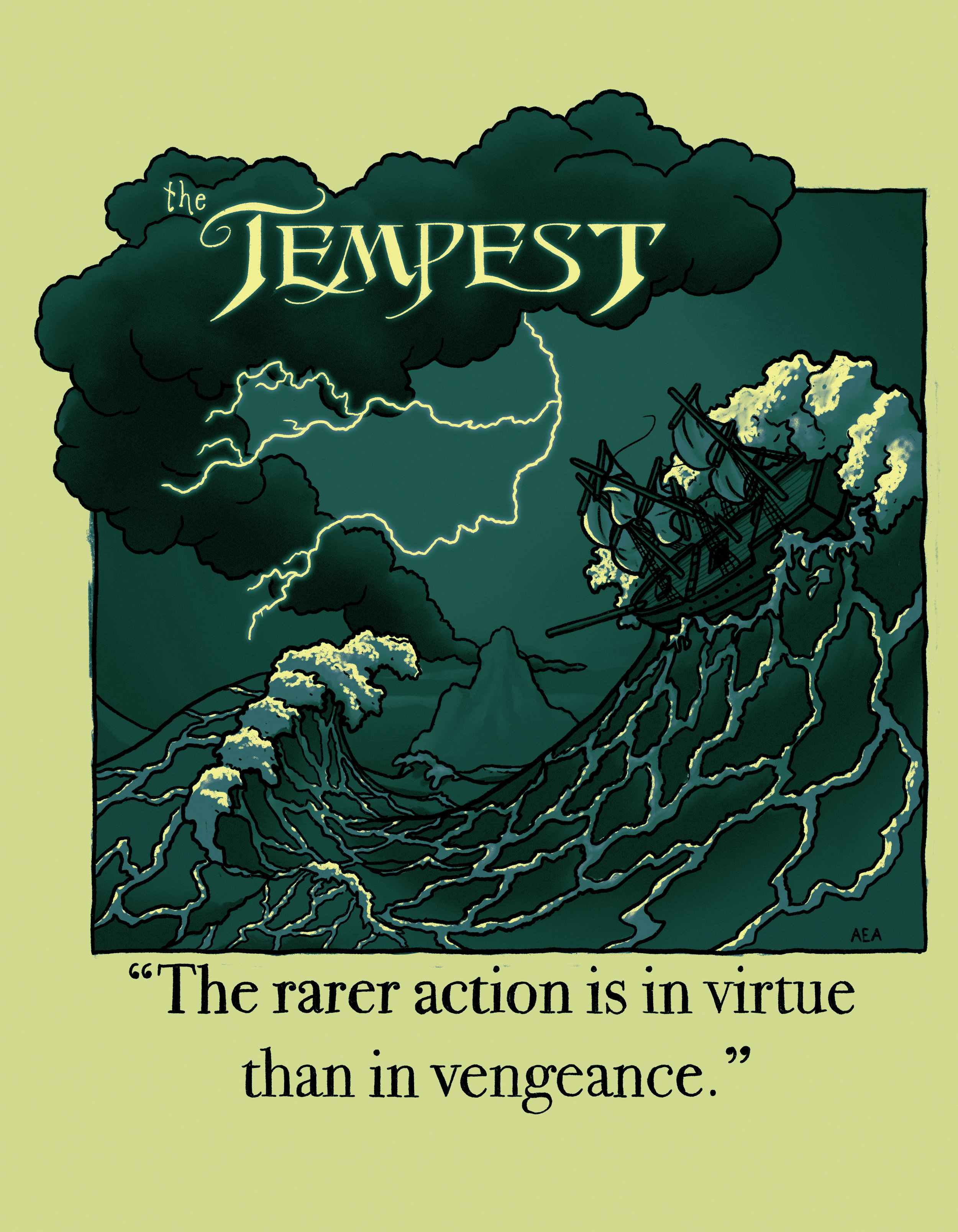 T-shirt design for a production of The Tempest.