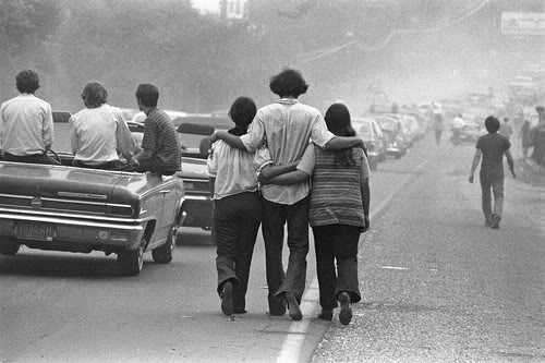 The road to Woodstock 1969 (photo by Baron Wolman)