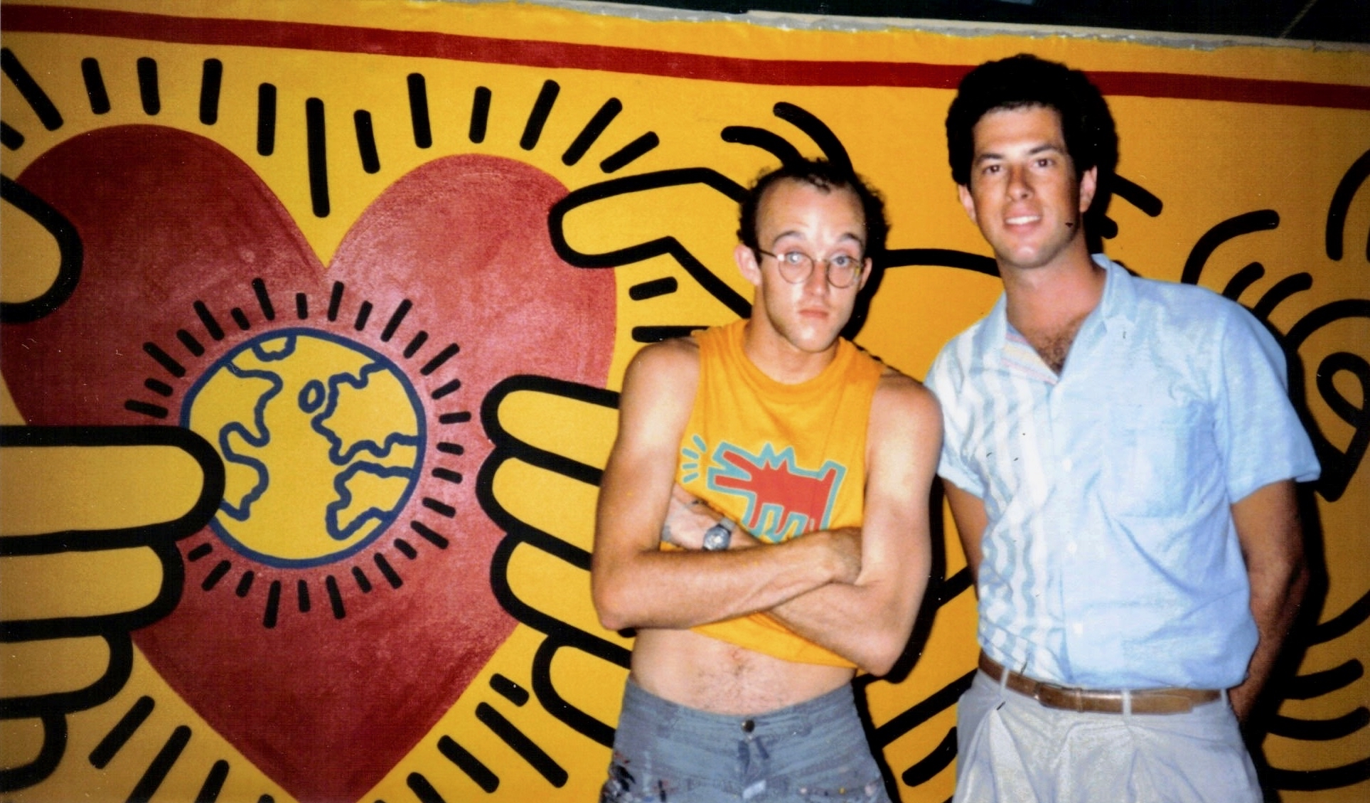 Artist and activist Keith haring with Larry Lieberman at Live Aid (1985)