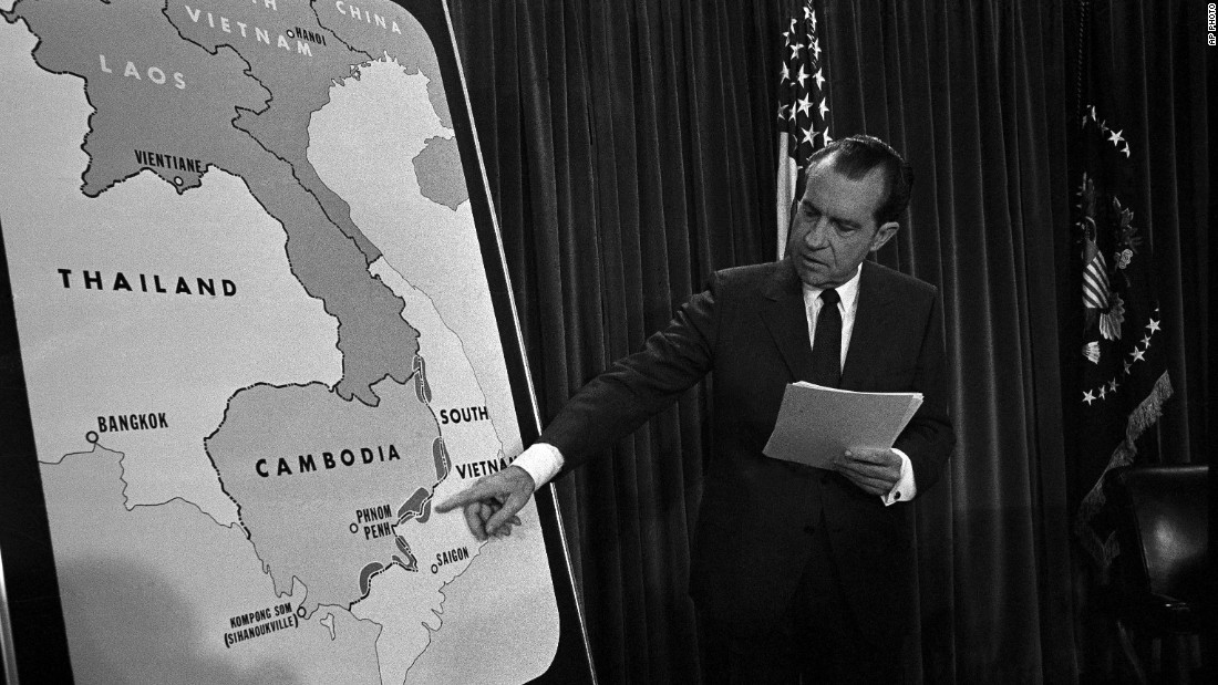 President Nixon on television explaining war escalations in Vietnam.