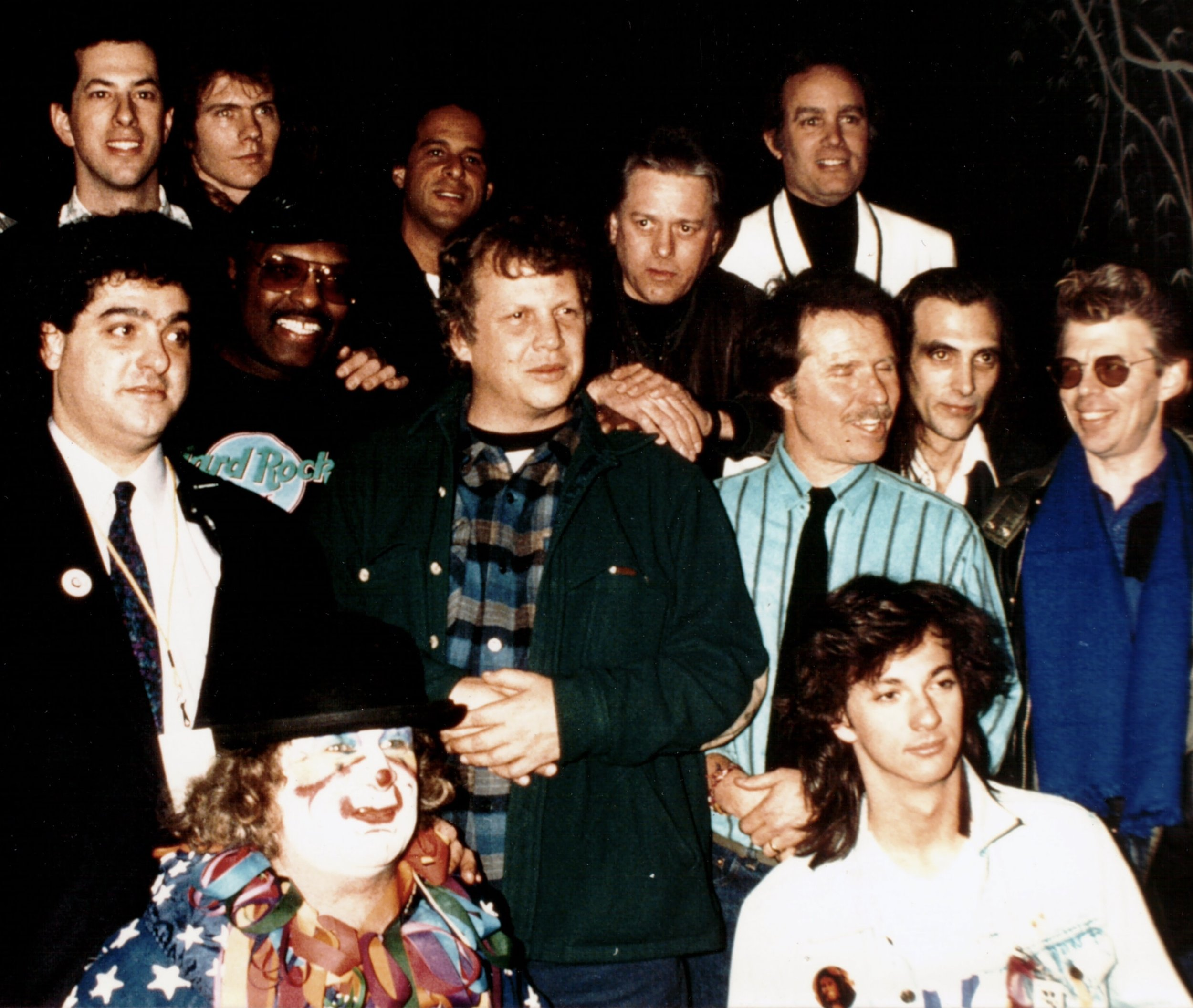 Larry Lieberman (top left) and Wavy Gravy (bottom left) with Steve Gold (middle left) Merl Saunders (Jerry Garcia Band). Peter Albin (Big Brother and the Holding Company), John Cipollina (Quicksilver Messenger Service), Spencer Dryden (Jefferson Airplane), Barry Melton and Country Joe McDonald (Country Joe and the Fish), Jack Casady (Jefferson Airplane, Hot Tuna), Brian Bloch, and others. [Psychedelic Daze Revue, 1987]