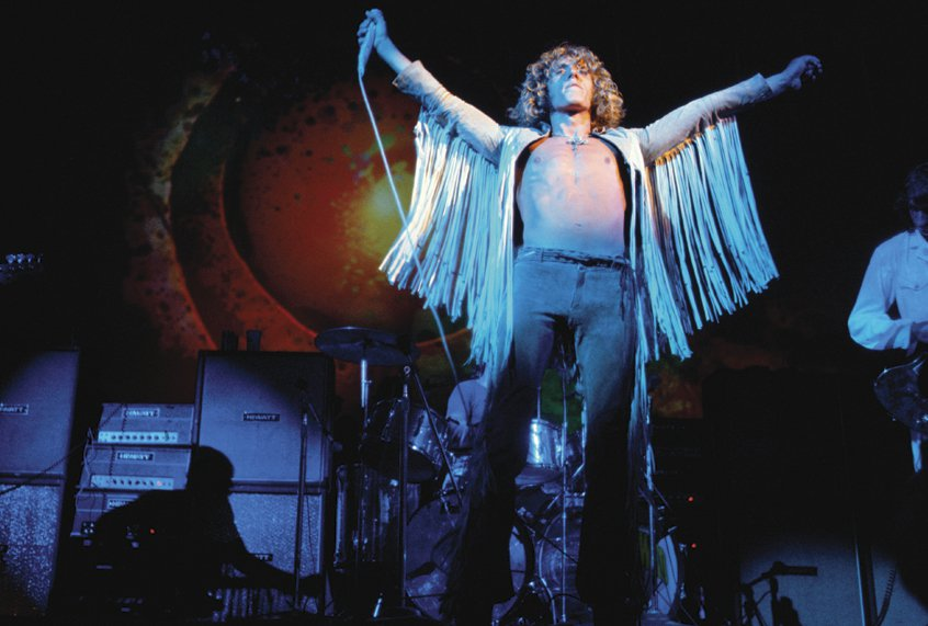 Roger Daltrey during The Who's performance at Woodstock (1969)