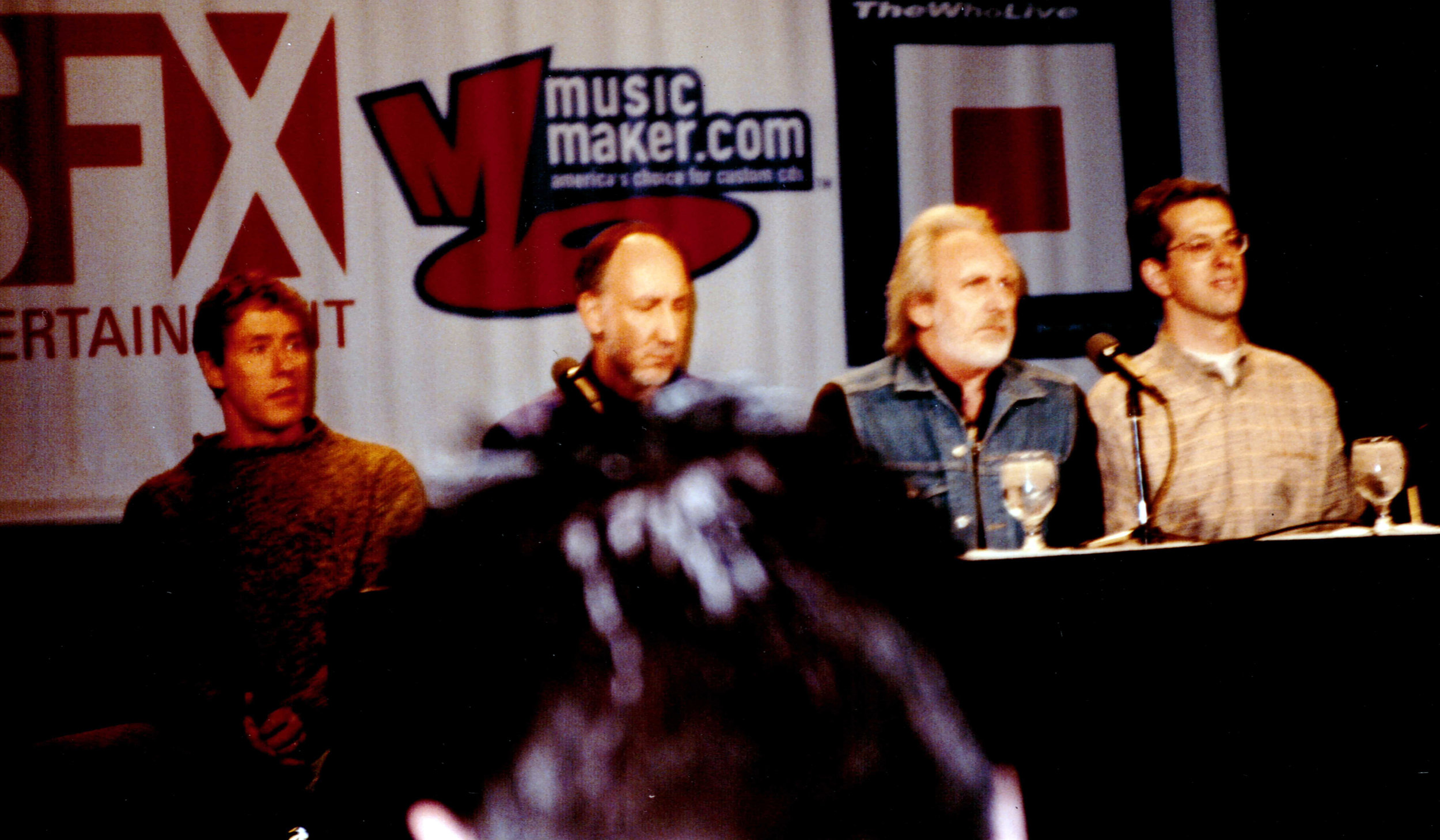 Roger Daltrey, Pete Townshend, John Entwistle, and Larry Lieberman announce The Who tour and the first all-digital album release by a major recording artist, April 10, 2000.