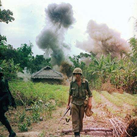 U.S. Marines bombing bunkers and tunnels used by the Viet Cong, 1966.