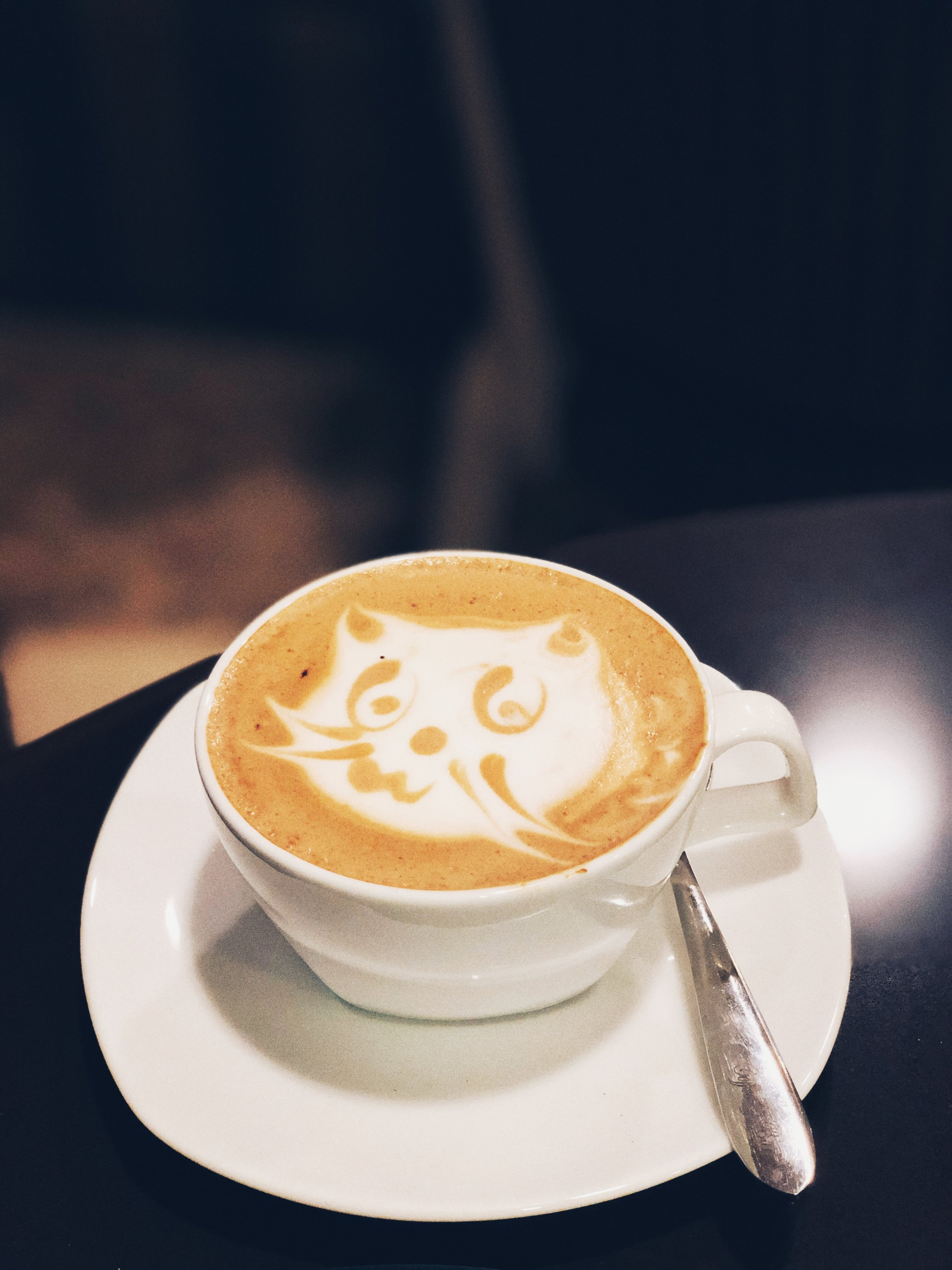 This latte is literally the cats whiskers. The attention to detail here is amazing! You can even see the cat's little mouth smiling up at you before you take a sip; though it's almost too pretty to drink!