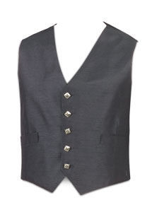 5-Button Silver Button Charcoal Waistcoat