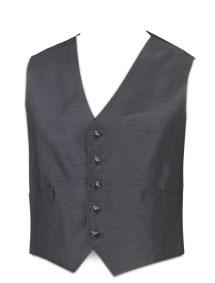 5 Button Charcoal Waistcoat (Dark Button)