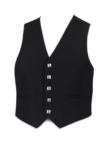5-Button Black Prince Charlie Waistcoat (Silver Button)