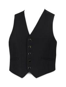 5 Button Black Prince Charlie Waistcoat (Dark Button)