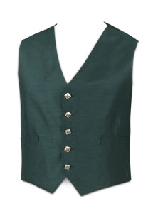 5-Button Green Waistcoat (Silver Button)