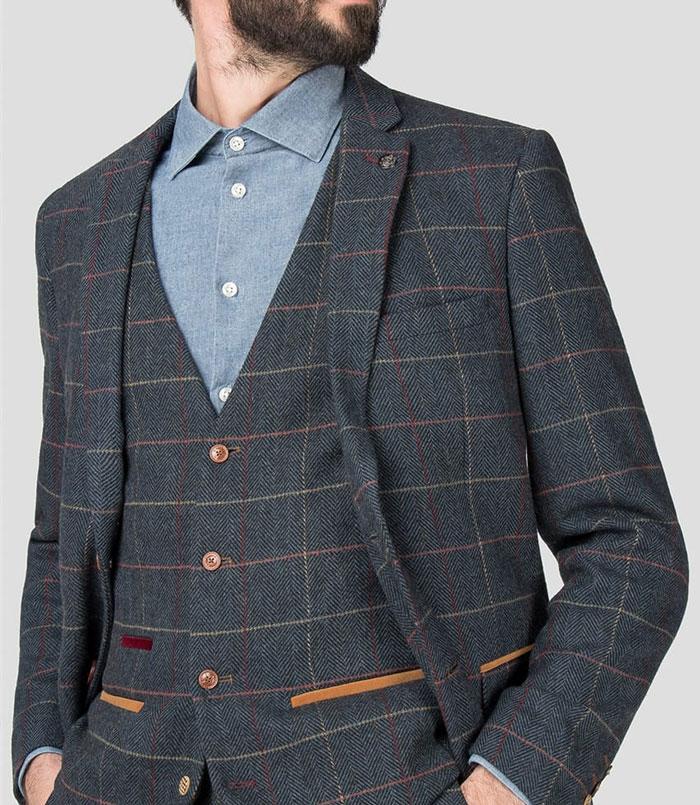 ETON – Navy Blue Tweed Check