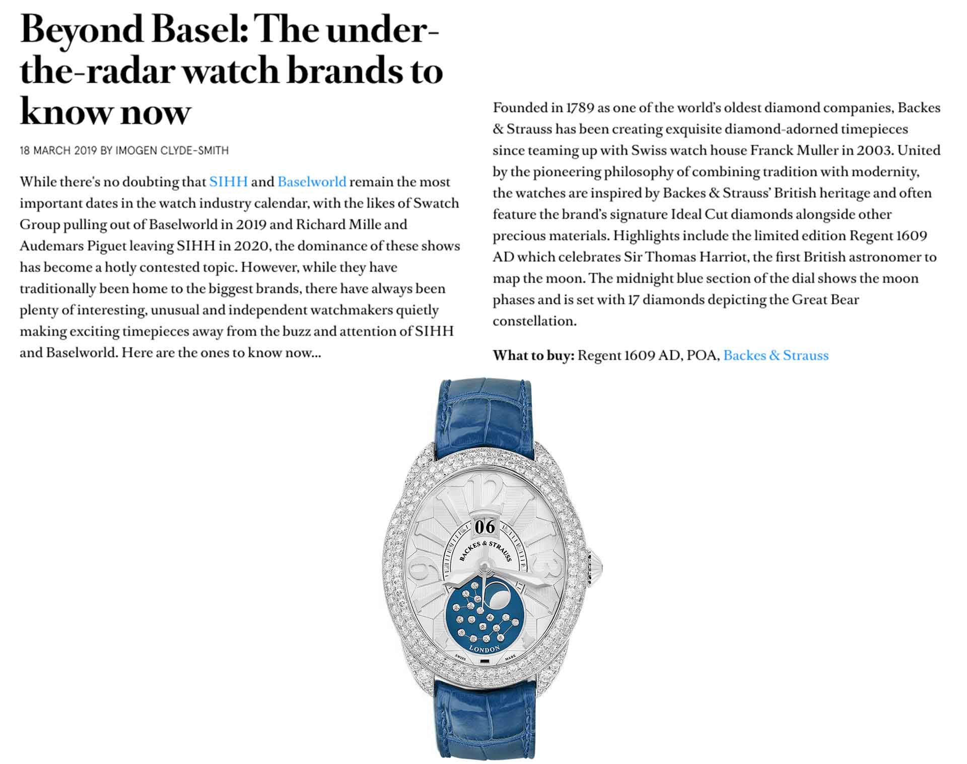 Regent 1609 AD 4047 limited edition diamond watch for her and him