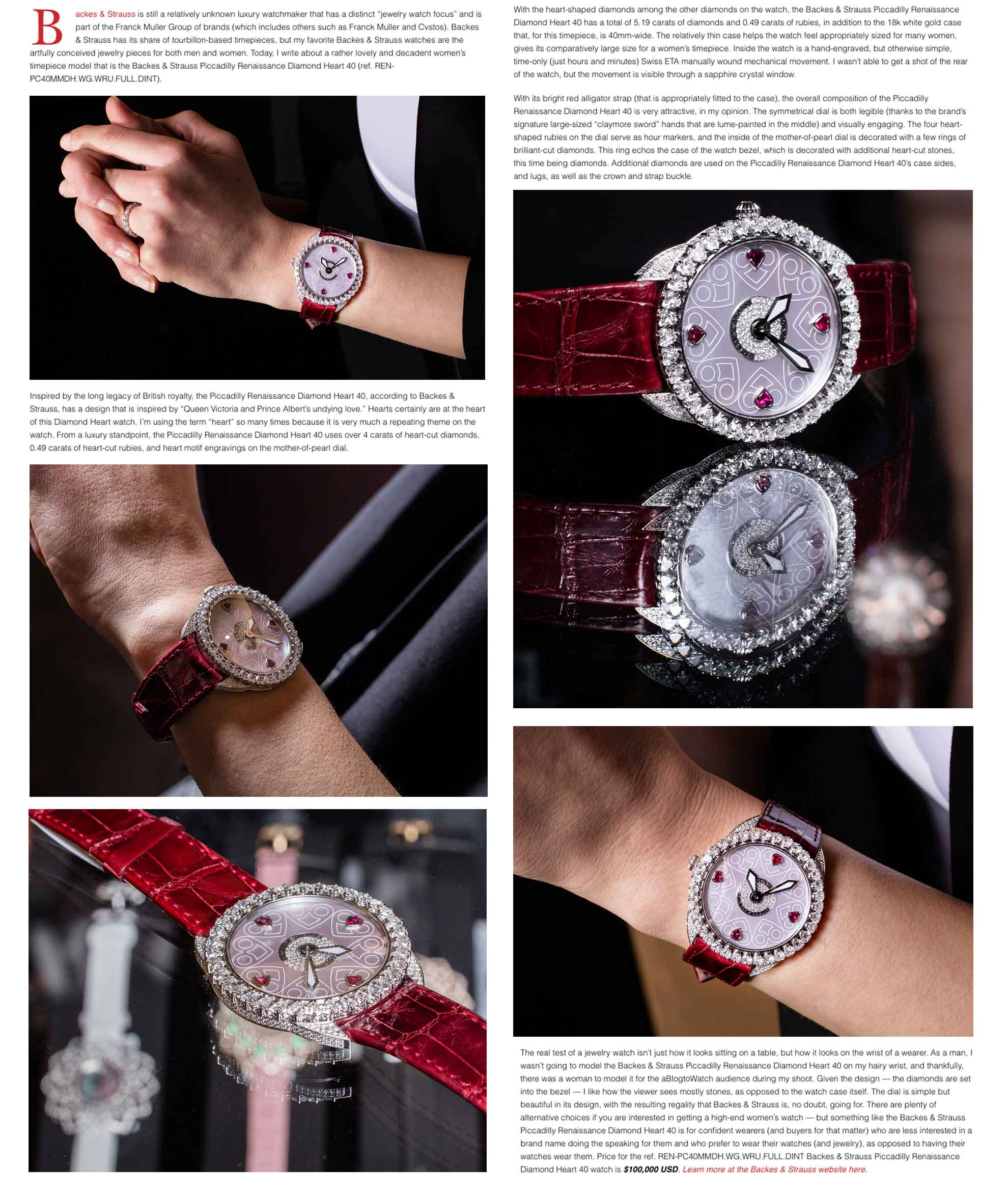 Piccadilly Renaissance diamond heart timepiece for ladies