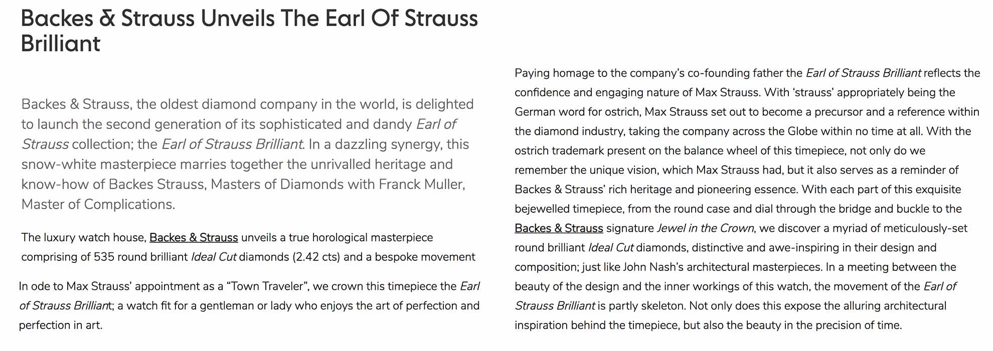 Earl of Strauss Brilliant ideal cut diamonds and bespoke watch