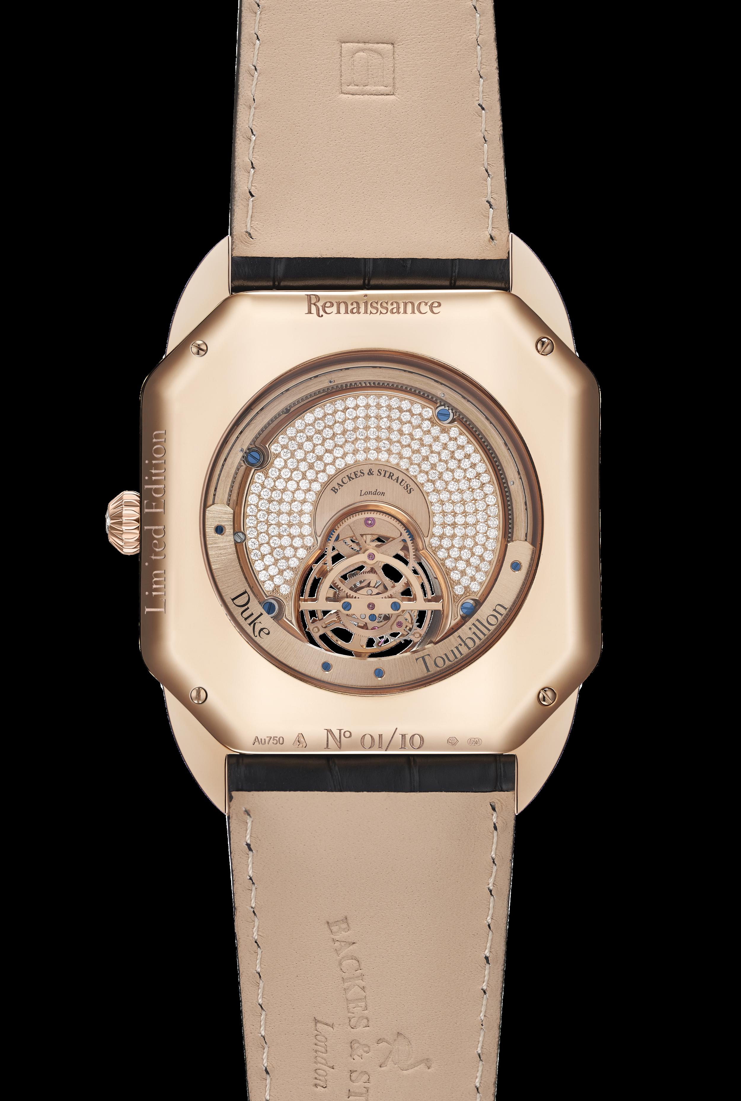 Berkeley Renaissance Duke Tourbillon diamond watch back case