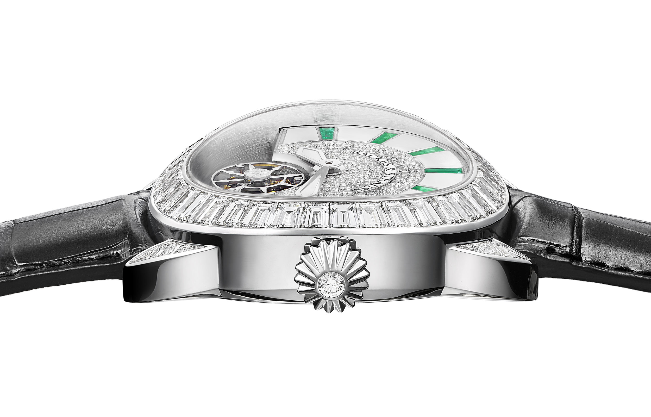 Piccadilly 45 King Tourbillon iconic diamond encrusted watch side-shot 2