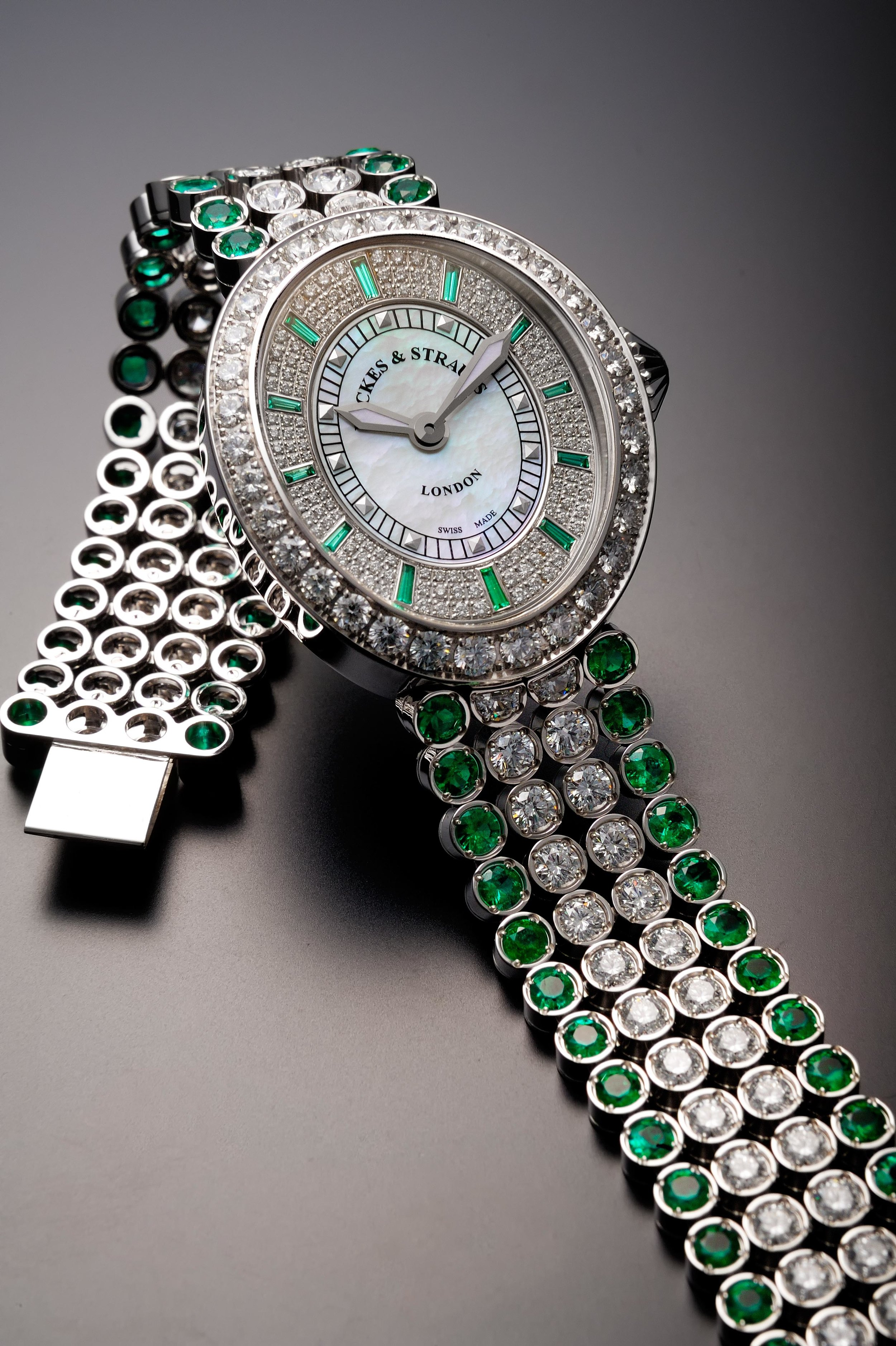 Regent Princess Green Emerald 3238 diamond encrusted watch for her