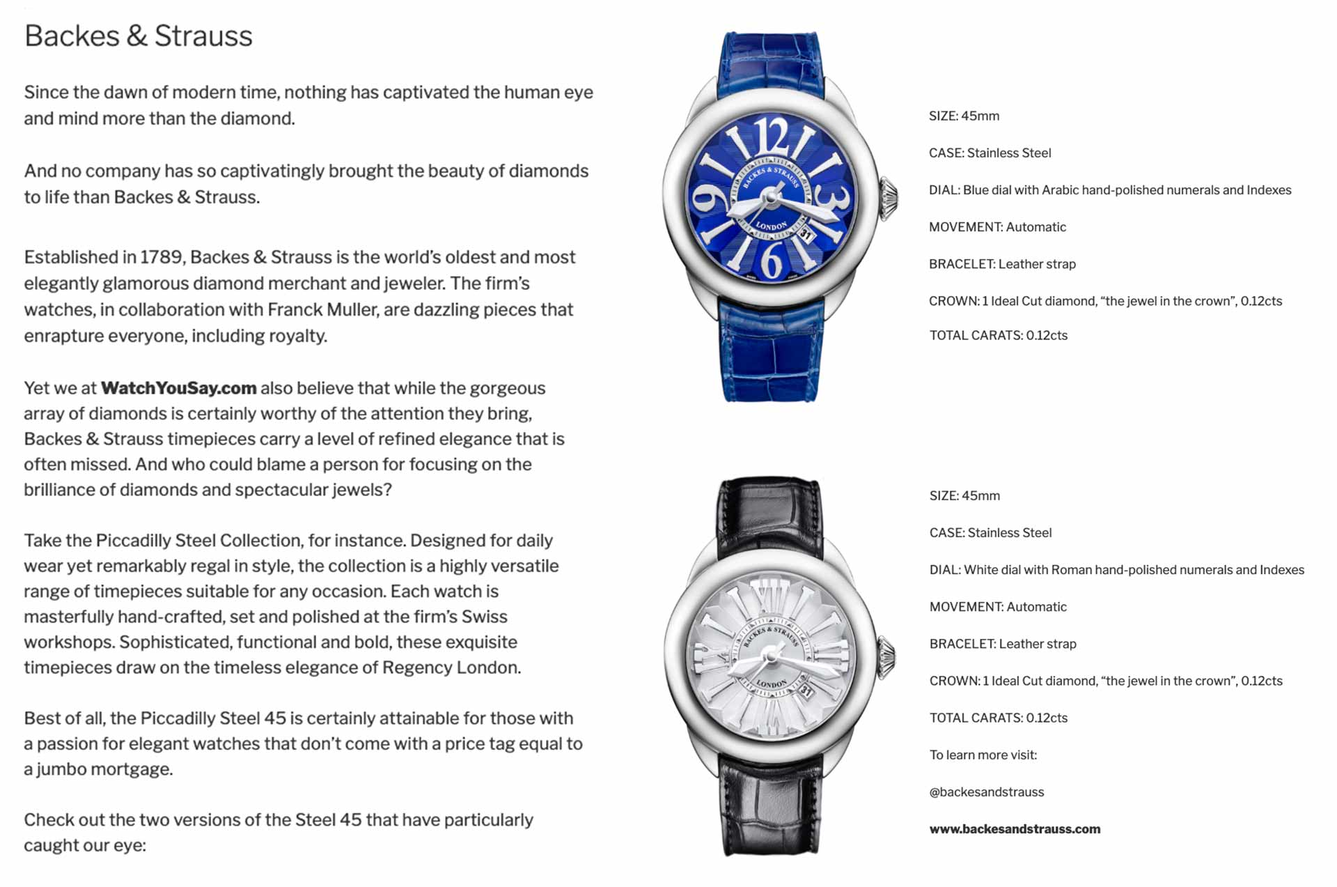 Piccadilly Steel collection watches for her and him