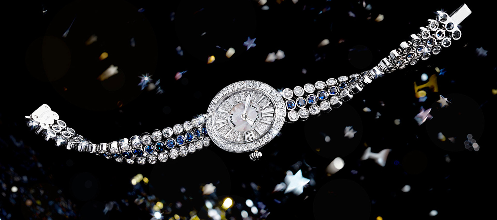 Regent Duchess blue velvet diamond bespoke watch for ladies