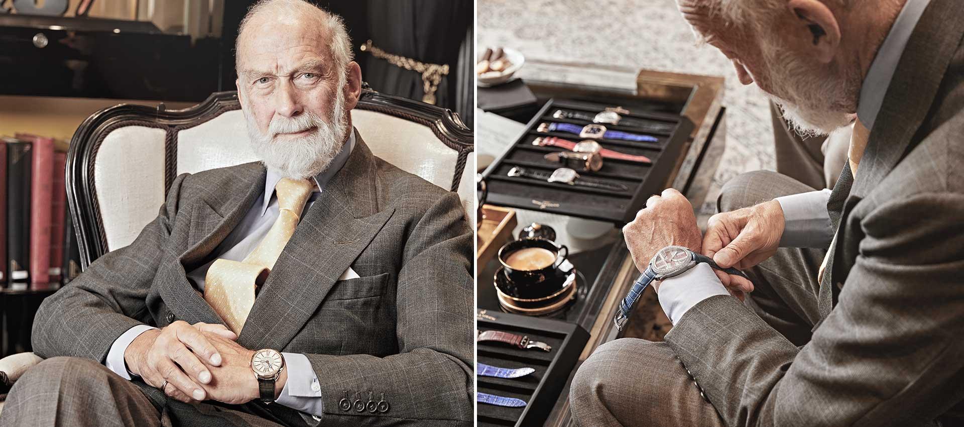 HRH Prince Michael of Kent wearing Backes & Strauss wristwatch