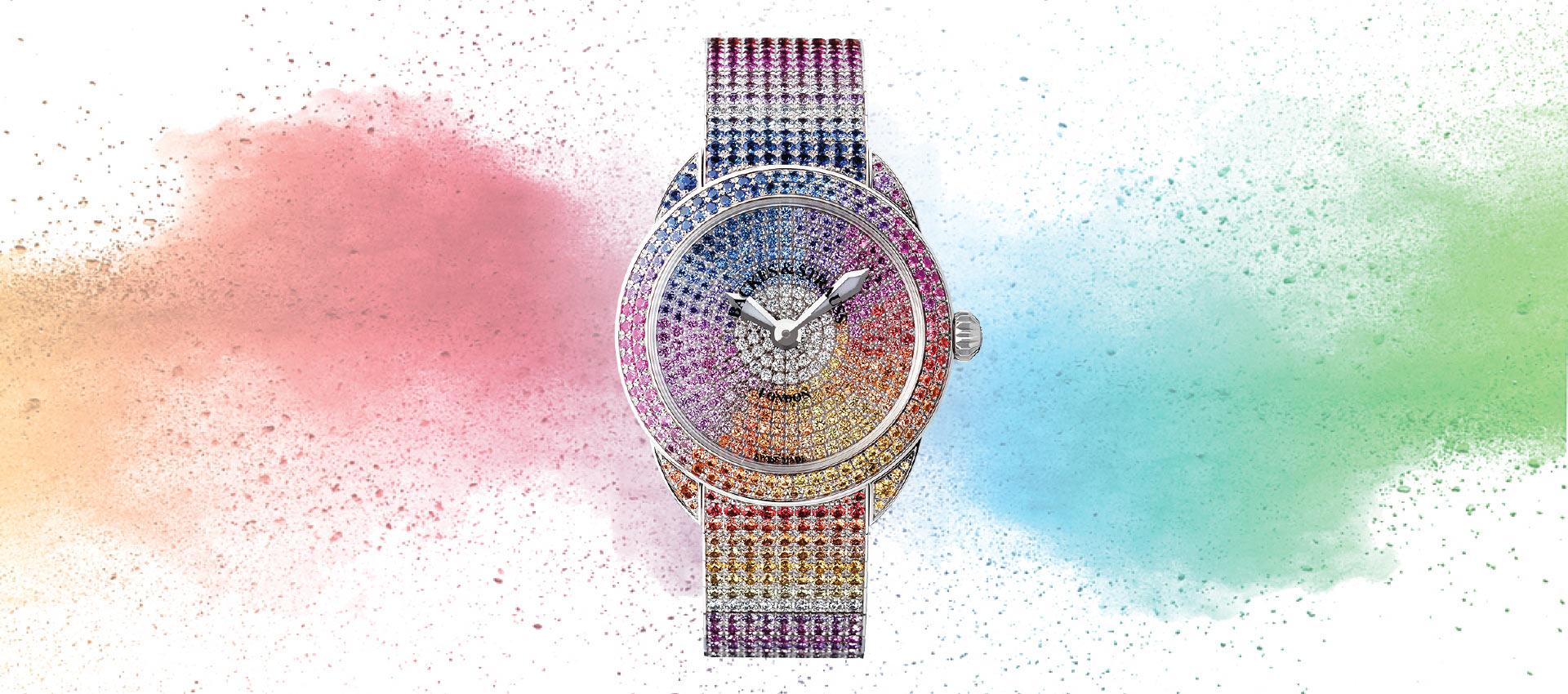 Piccadilly Renaissance Ballerina Rainbow diamond encrusted watch