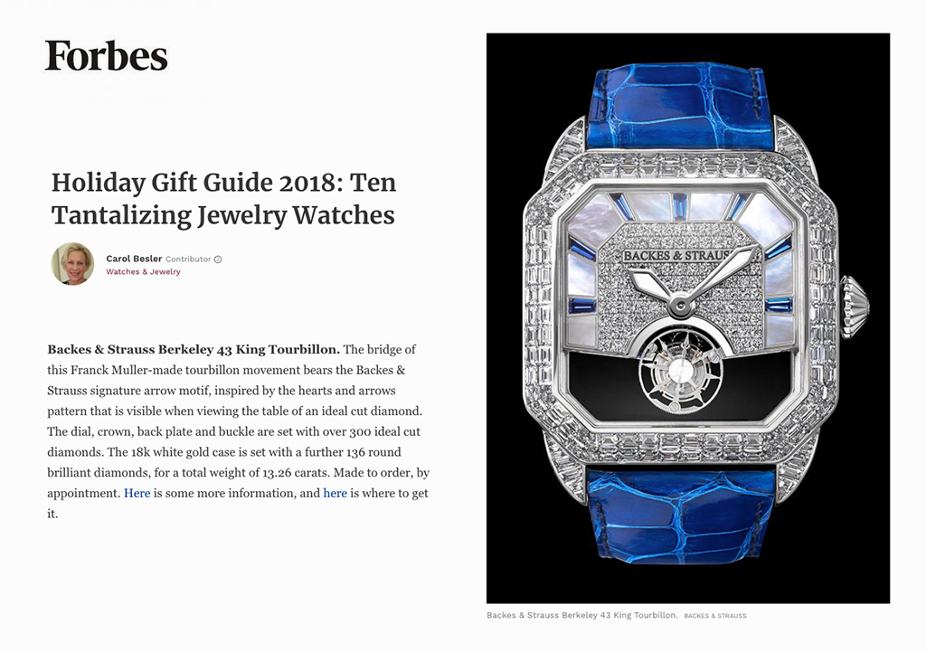 Berkeley 43 King Tourbillon diamond watch featured in Forbes